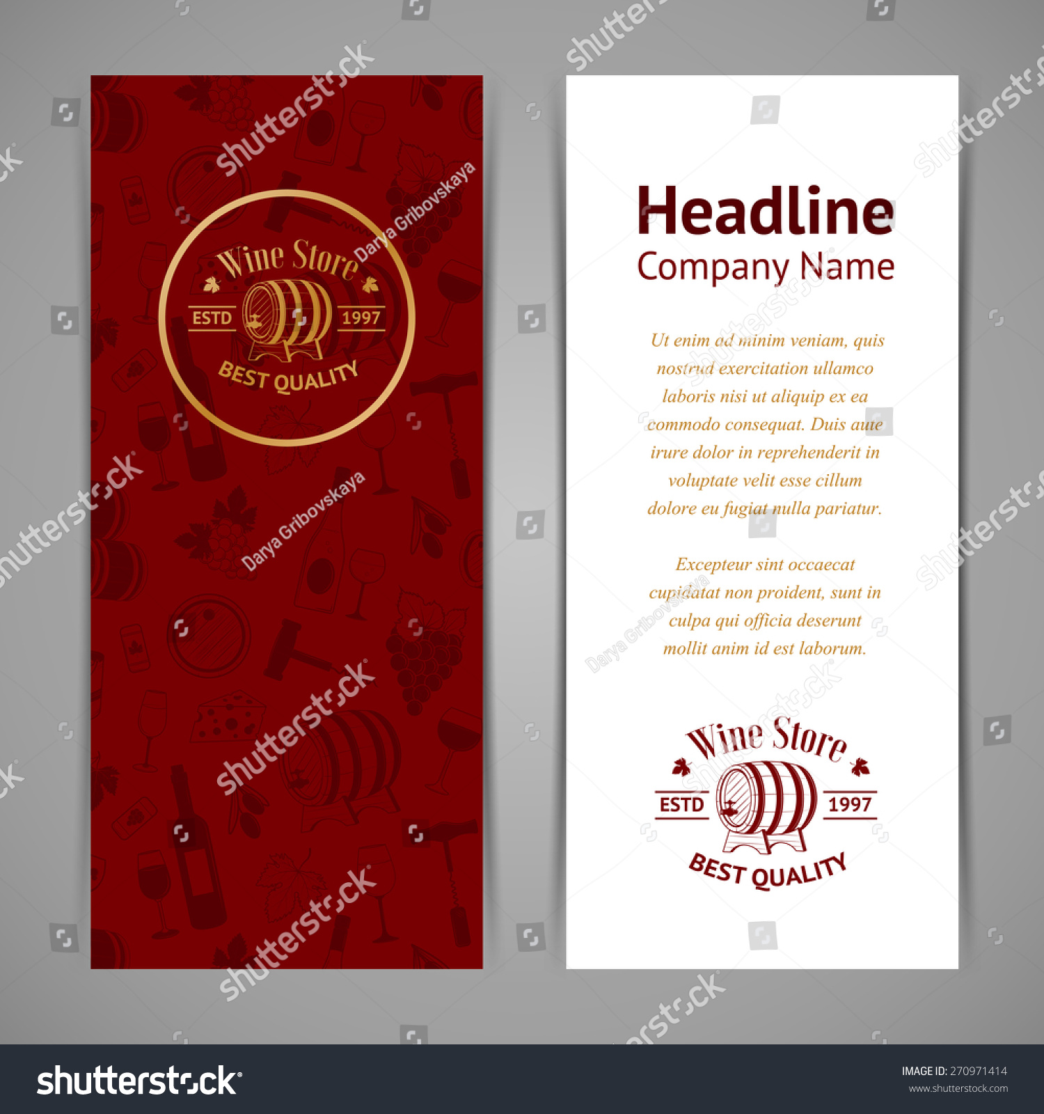 Set Wine Business Cards Templates Wine Stock Vector 270971414 ...