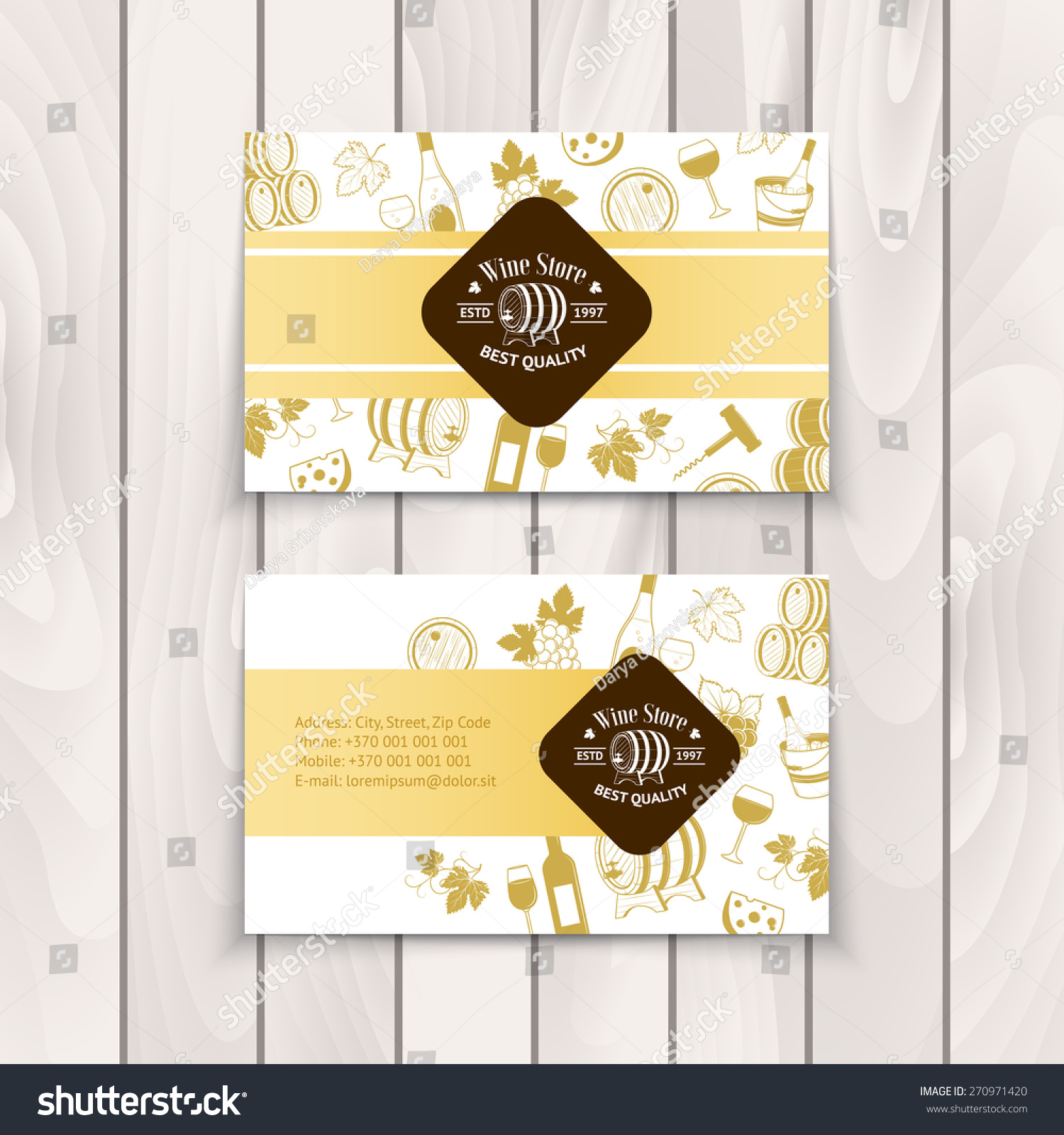 Set Wine Business Cards Templates Wine Stock Vector 270971420 ...