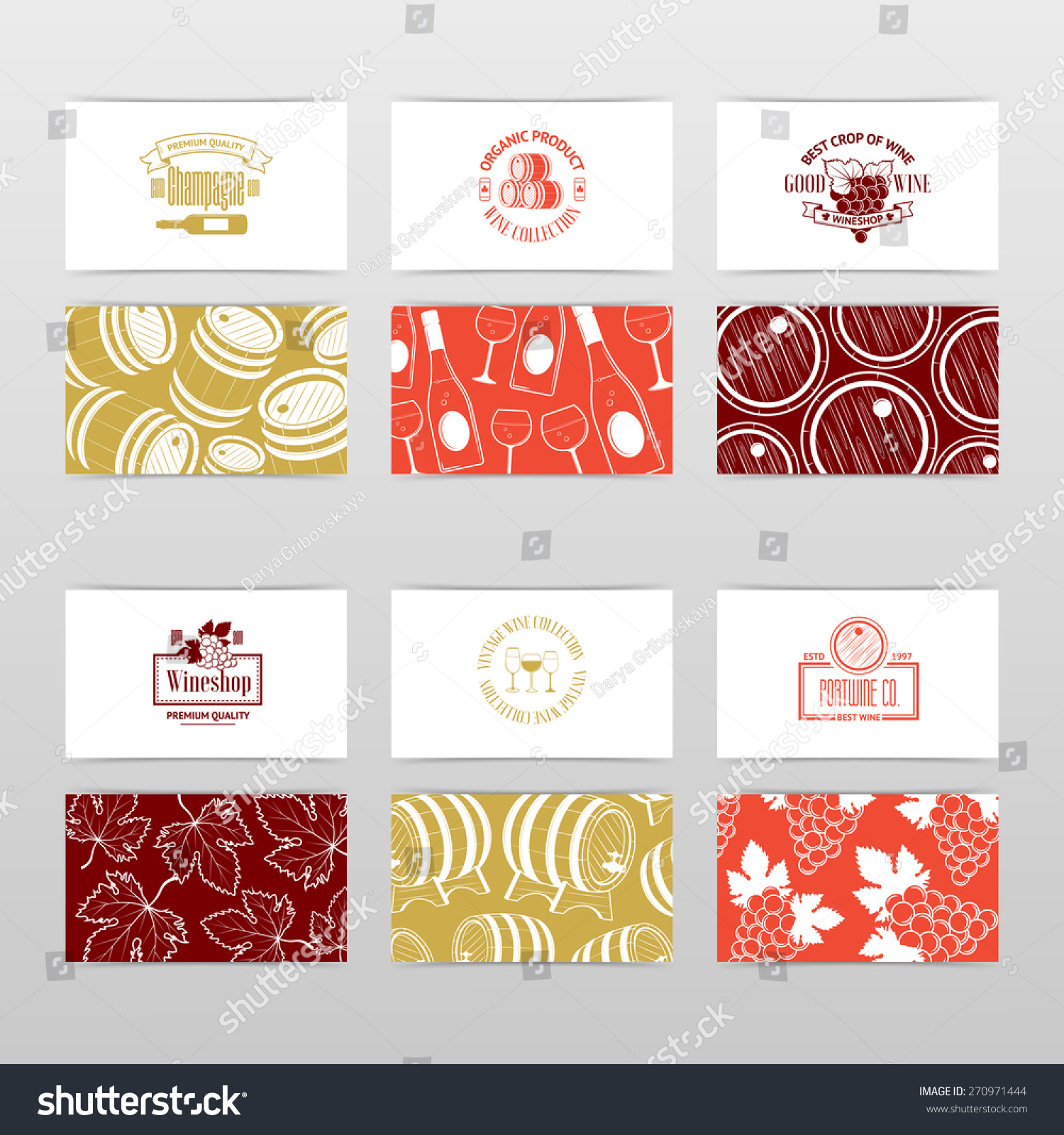 Set Wine Business Cards Templates Wine Stock Vector 270971444 ...