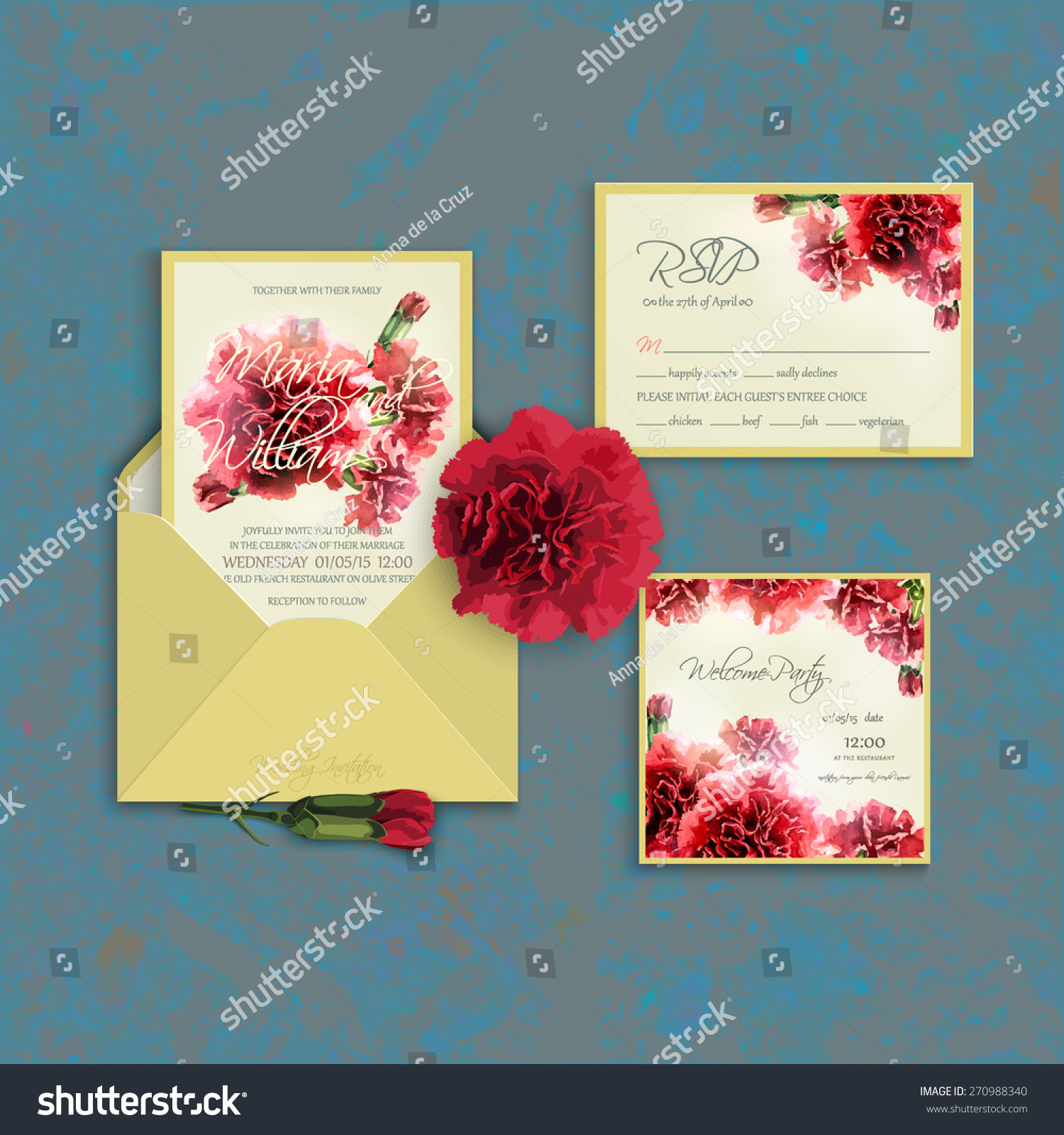 Invitation Set Template Watercolor Red Carnation Stock Vector ...