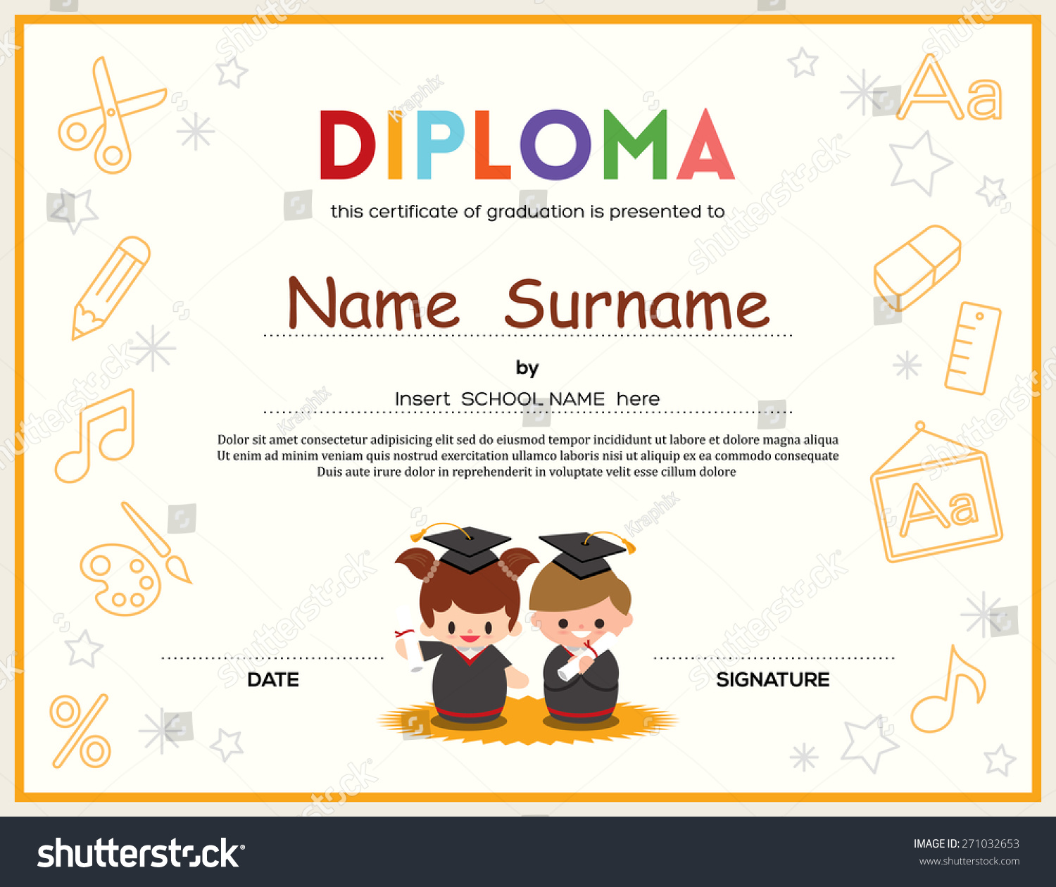 high school diploma certificate fancy design templates - preschool kids diploma certificate background design stock