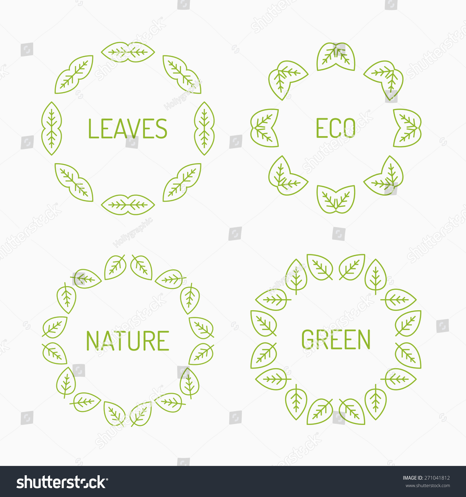 Green Leaves Eco Frames Graphic Stock Vector 271041812 - Shutterstock