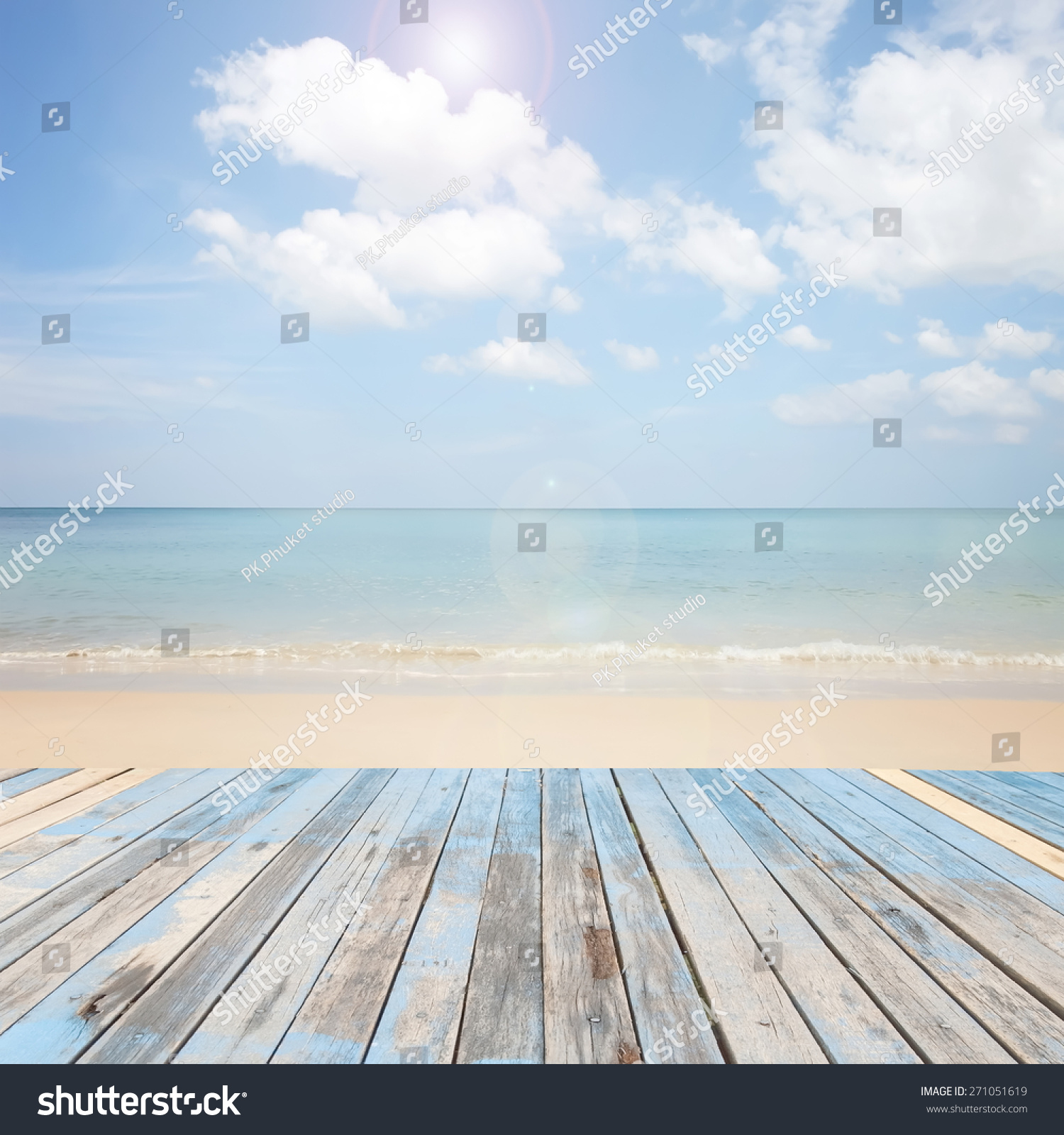 Wood Floor On Beach Sea And Blue Sky For Background Stock: Wooden Floor Beautiful Blue Sky Scenery Stock Photo
