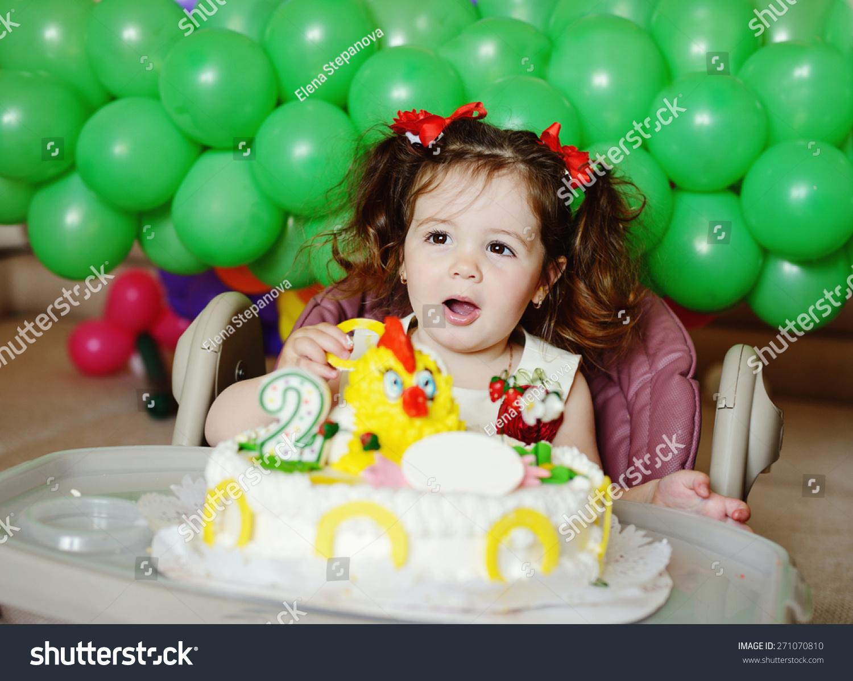 Phenomenal Happy Toddler Girl Her Birthday Cake Stock Photo Edit Now 271070810 Personalised Birthday Cards Veneteletsinfo