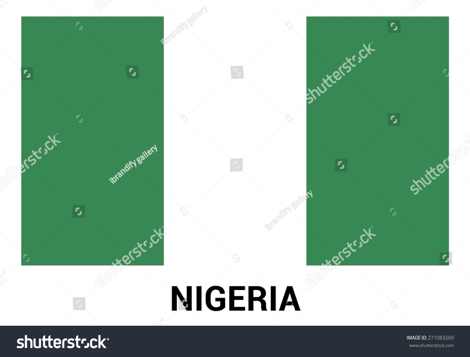 Nigeria Flag Isolated Vector ficial Colors Stock Vector