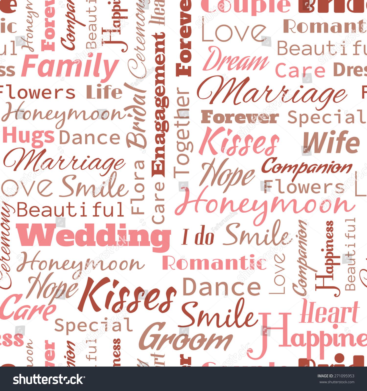Wedding Or Honeymoon Text Word Seamless Pattern Metaphor To Family Wife Kiss