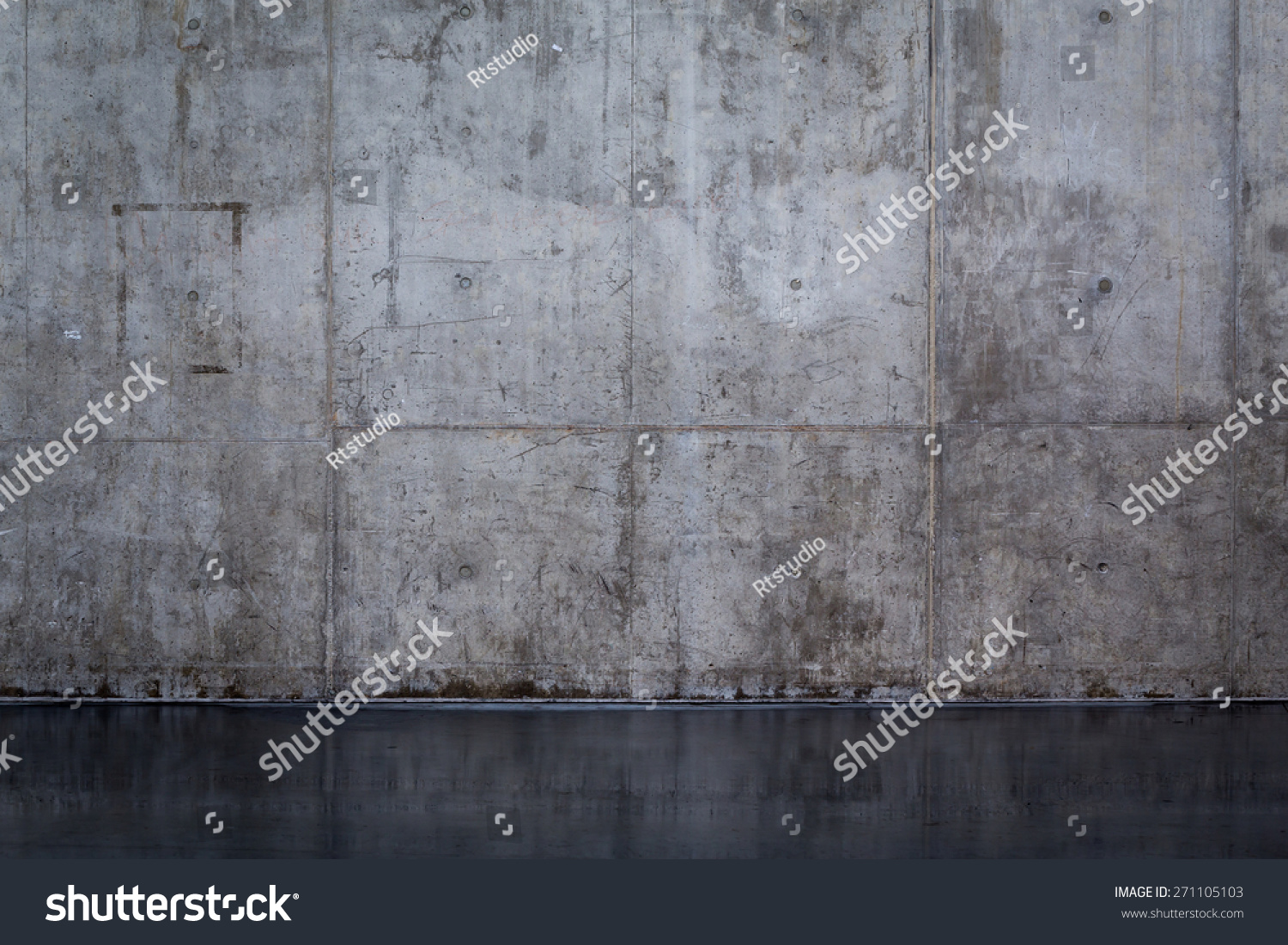 Smooth Cement Wall : Grungy smooth bare concrete wall background stock photo