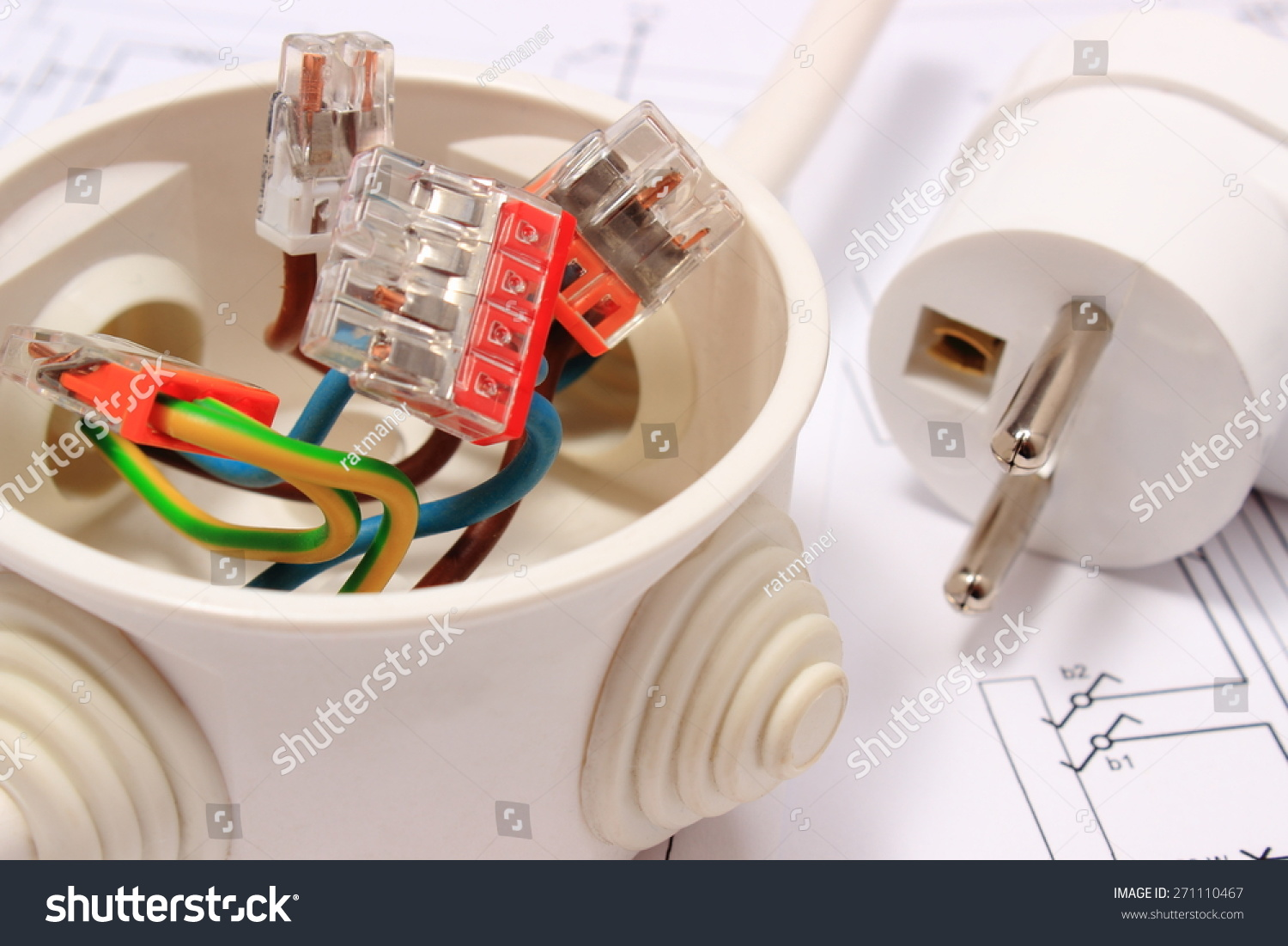 Copper Wire Connections Electrical Box Electric Stock Photo Edit Wiring A Plug In And Lying On Construction Drawing Of House