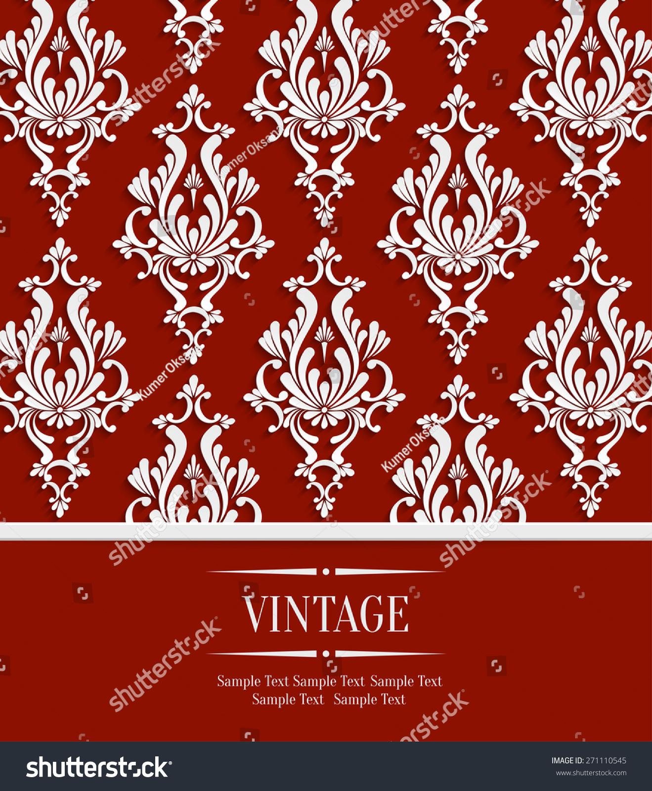 Vector Red Vintage Wedding Invitation Background Stock Vector ...