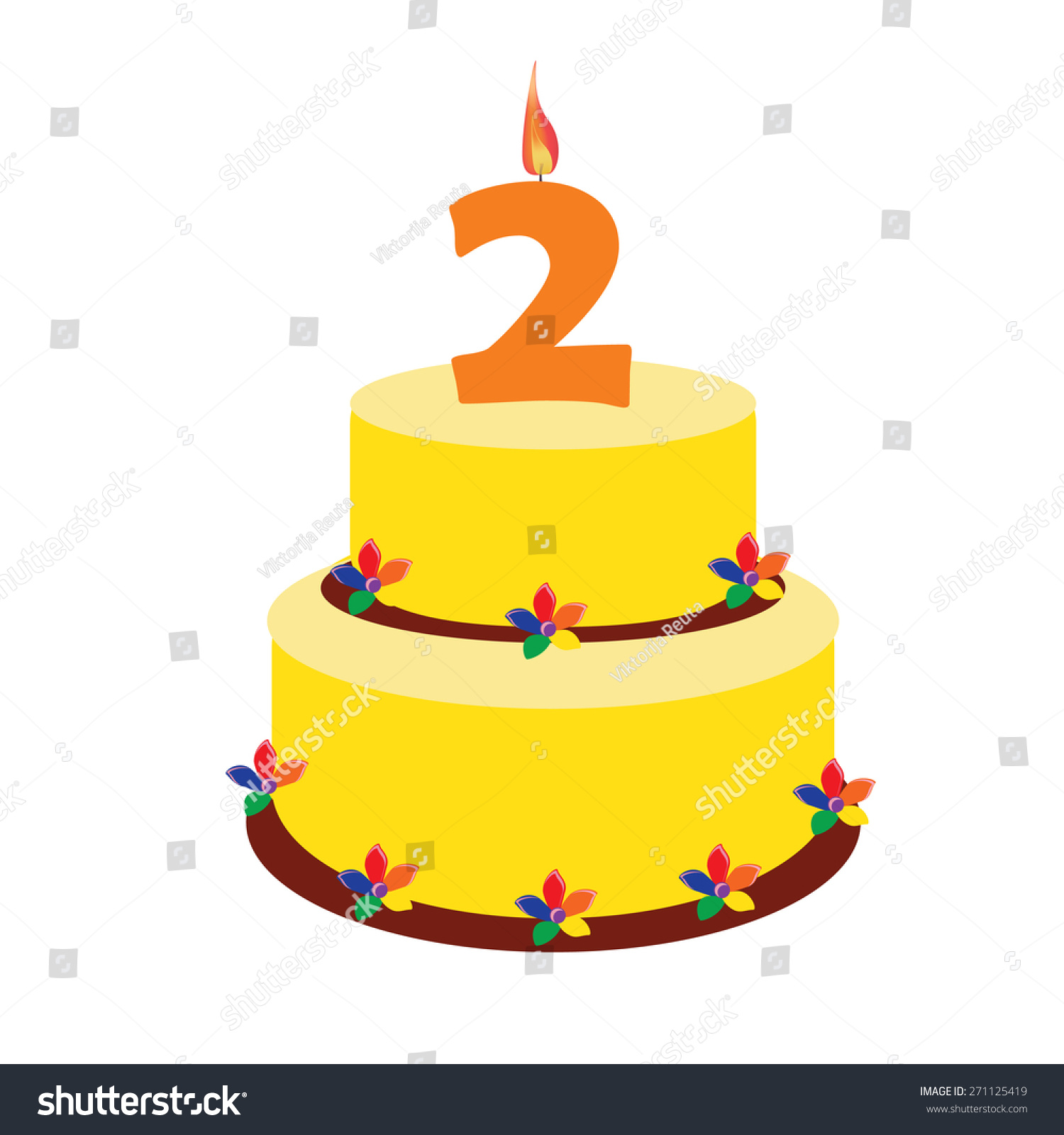 Birthday Cake Two Years Second Birthday Stock Vector Royalty Free