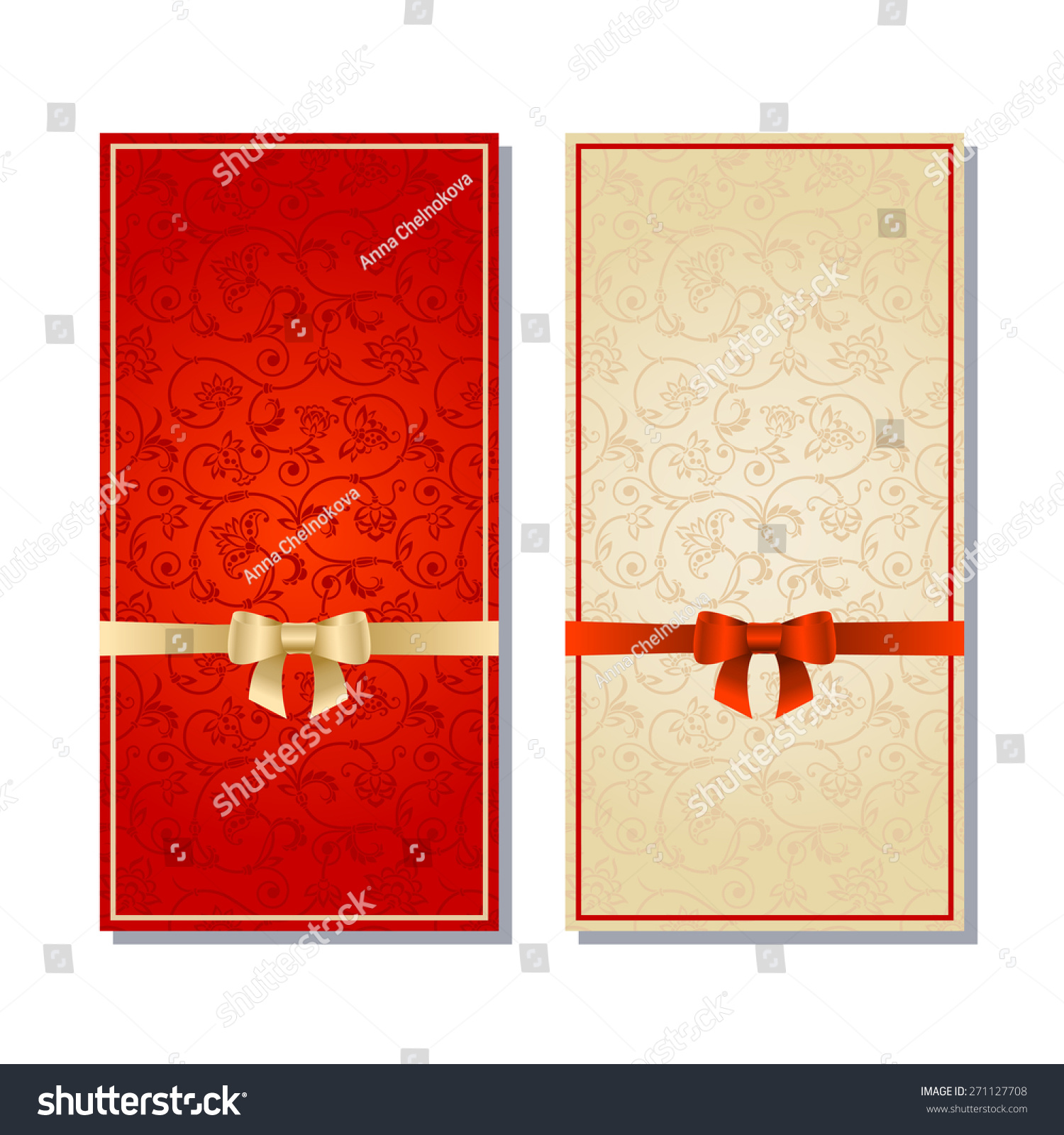 Vector Set Red Floral Decorative Background Stock Vector (Royalty ...