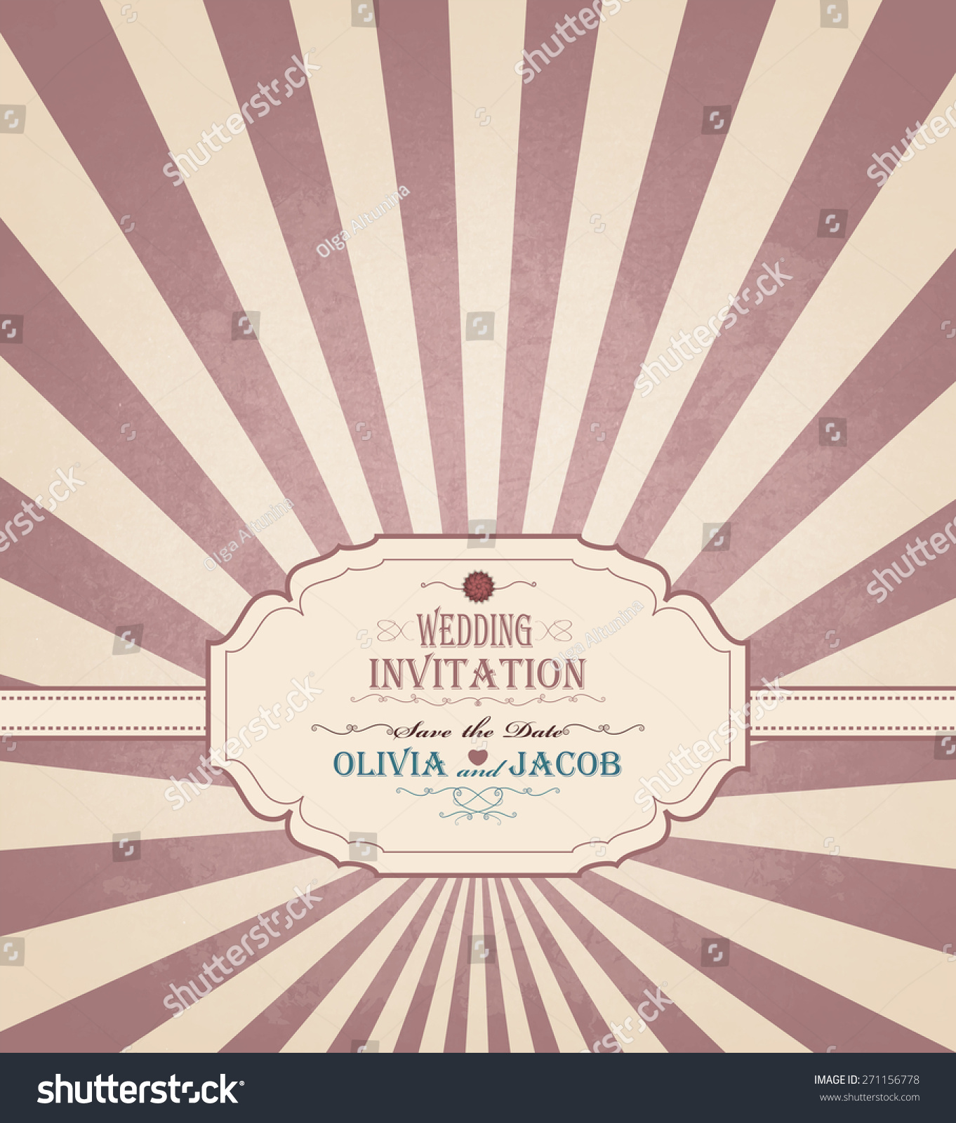Vintage Wedding Invitation Grunge Background Title Stock
