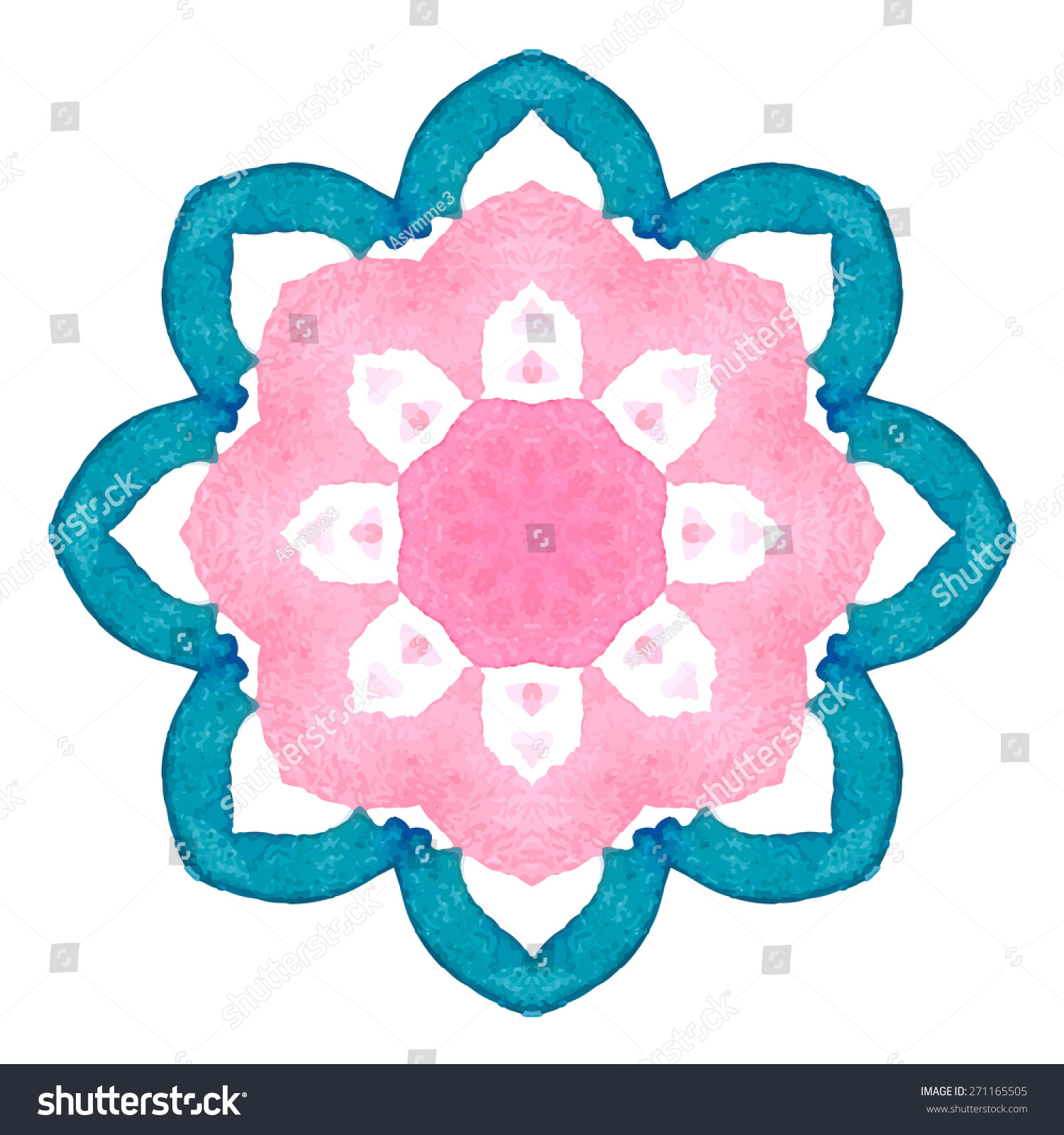 Watercolor Flower Cherry Blossom Mandala Lace circular ornament on white background Oriental Geometric circle element Vector illustration
