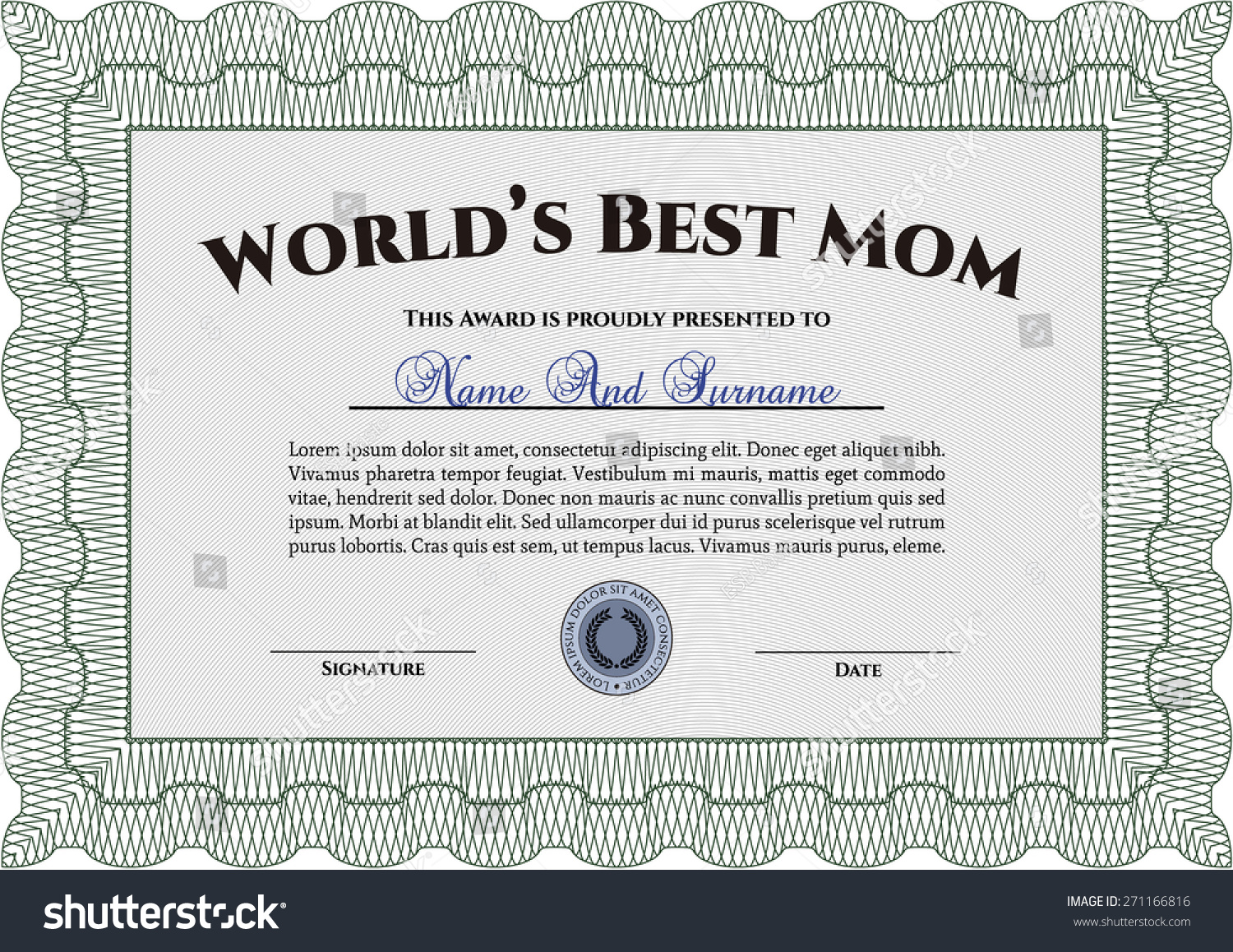 Worlds Best Mom Certificate Awards Template Stock Vector Royalty
