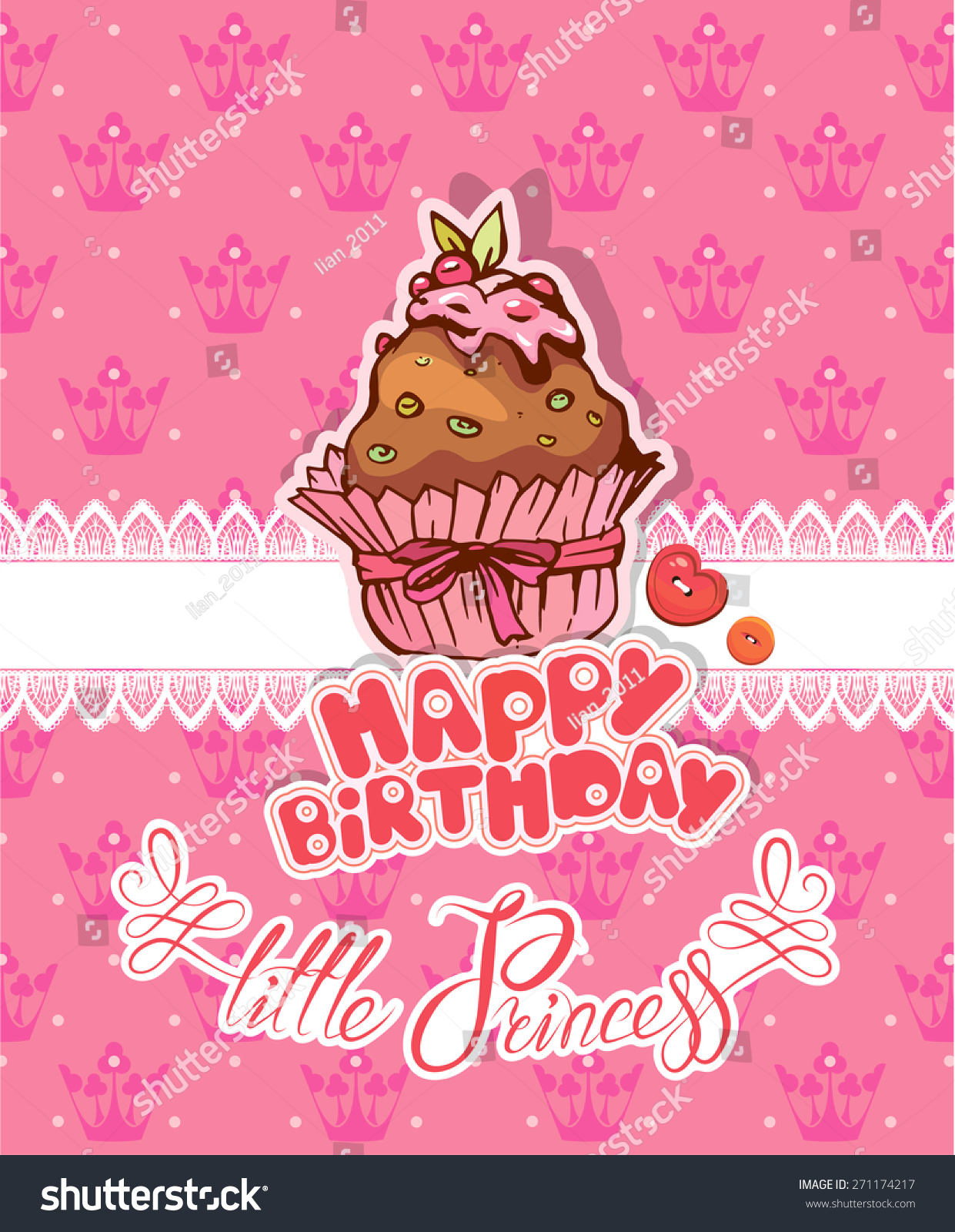 Girls happy birthday little princess holiday card for girl with