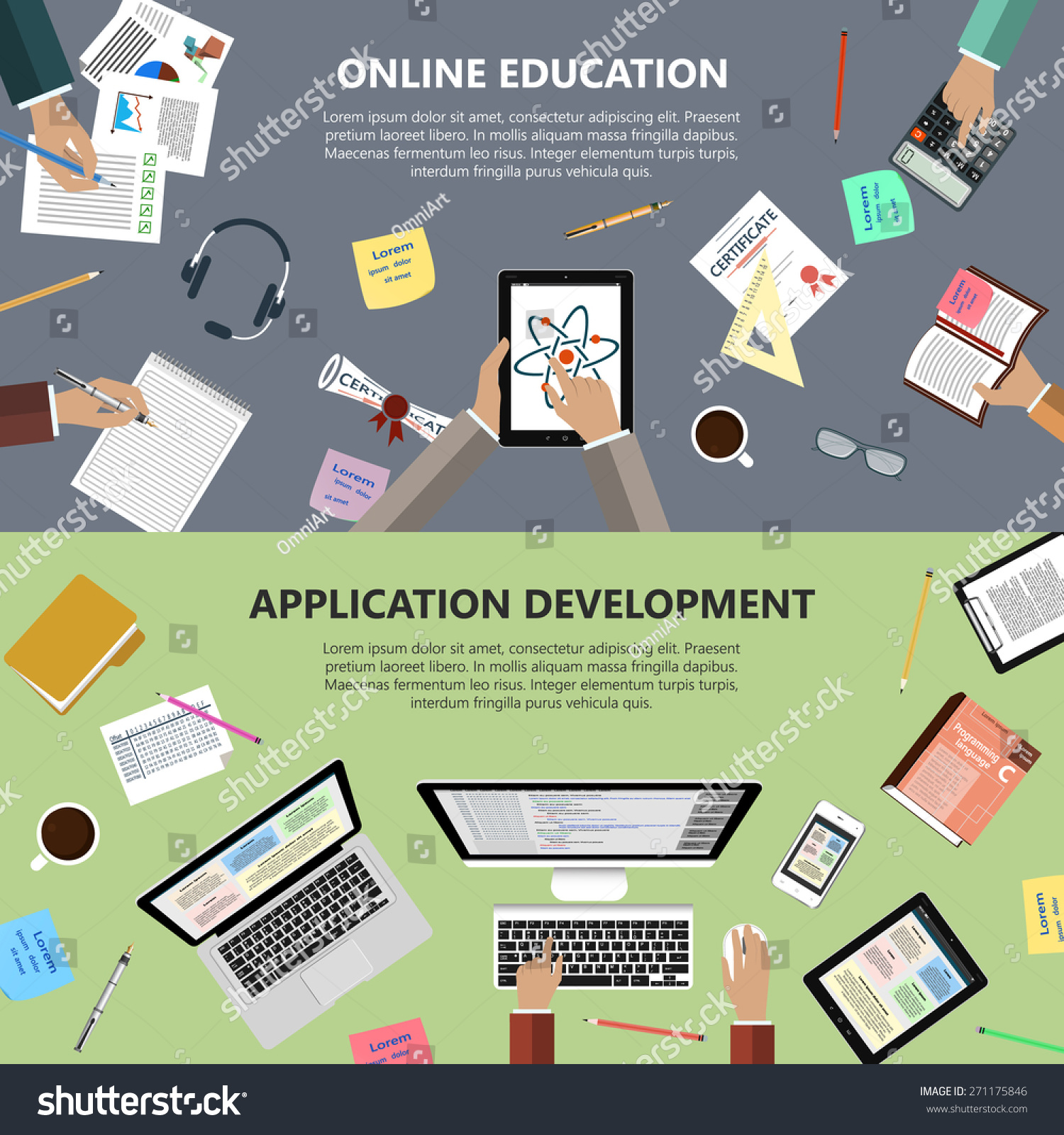 Modern Flat Design Online Education And App Development Concept For E Business Web Sites