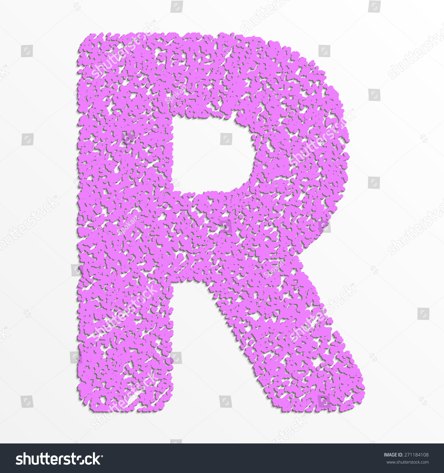 The letter R, in the alphabet Heart flower bush illustration set ...