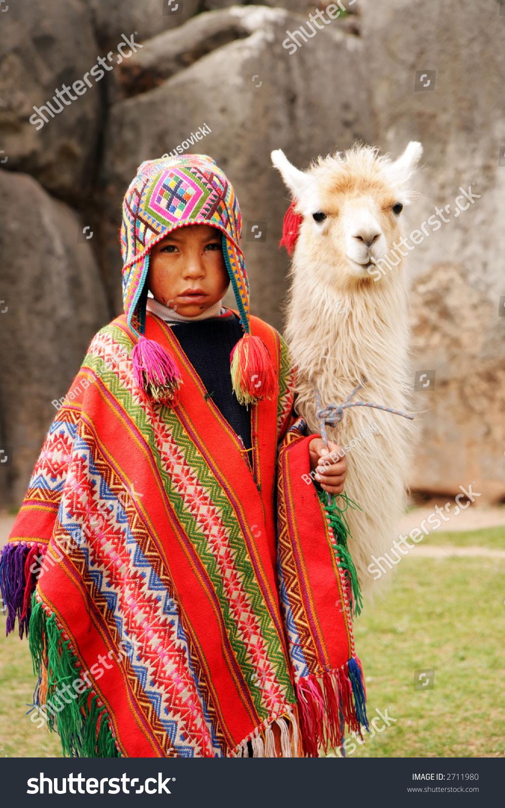 peruvian boy traditional dress lama ancient stock photo