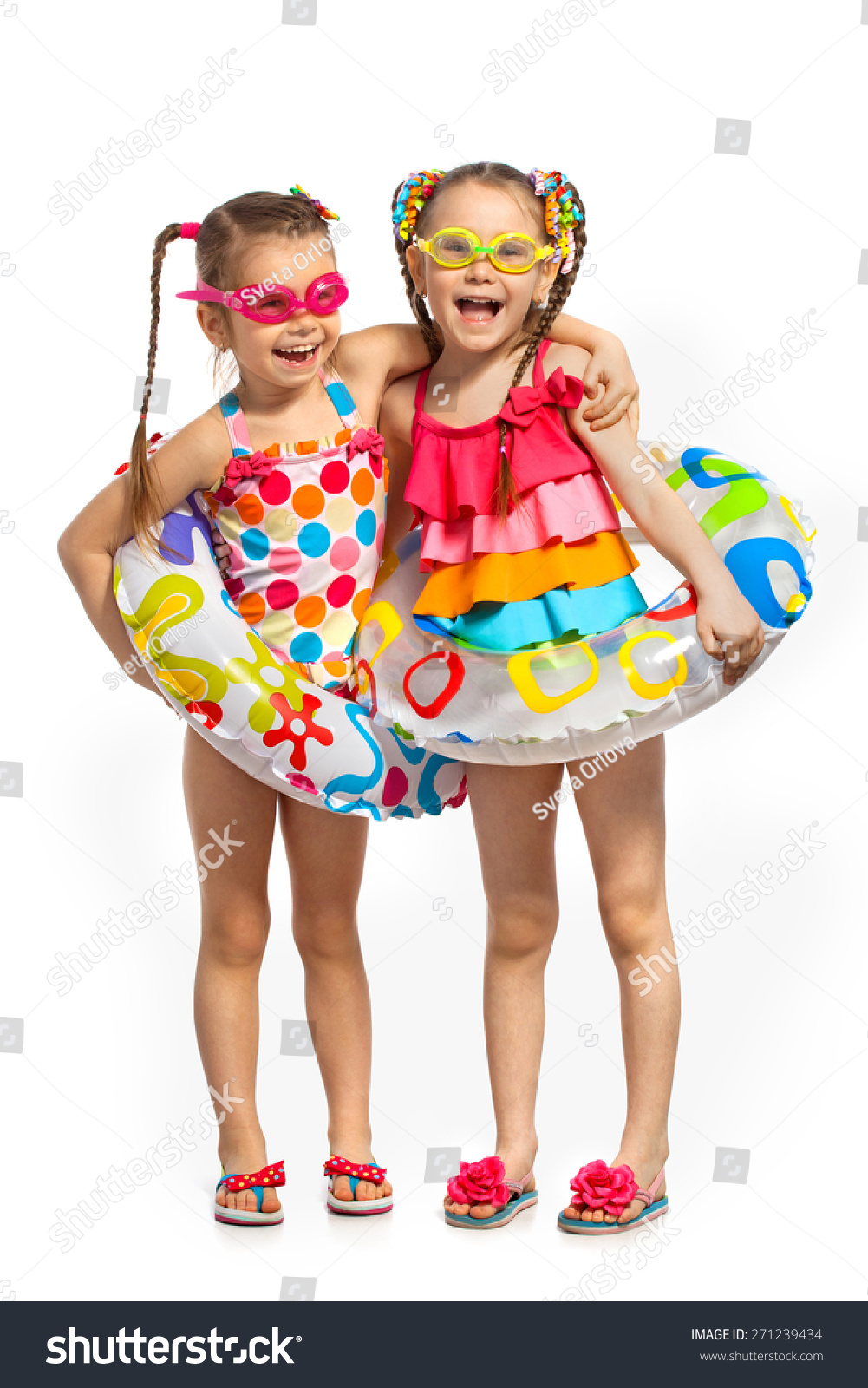 Happy Kids Swimsuit Inflatable Rings Isolated Stock Photo ...