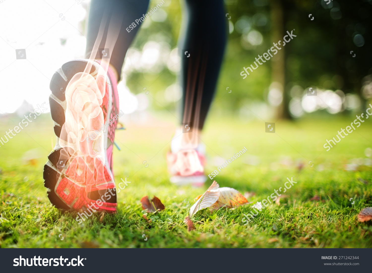 Digital composite of Highlighted foot bones of jogging woman #271242344