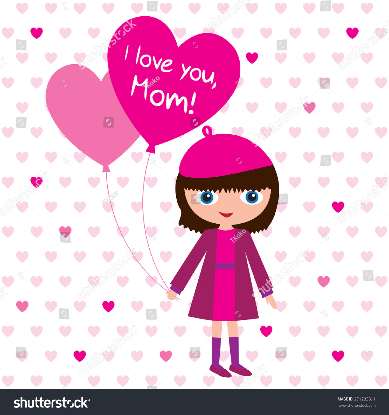 Happy Mothers Day Greeting Card For Mothers Day Little Girl With