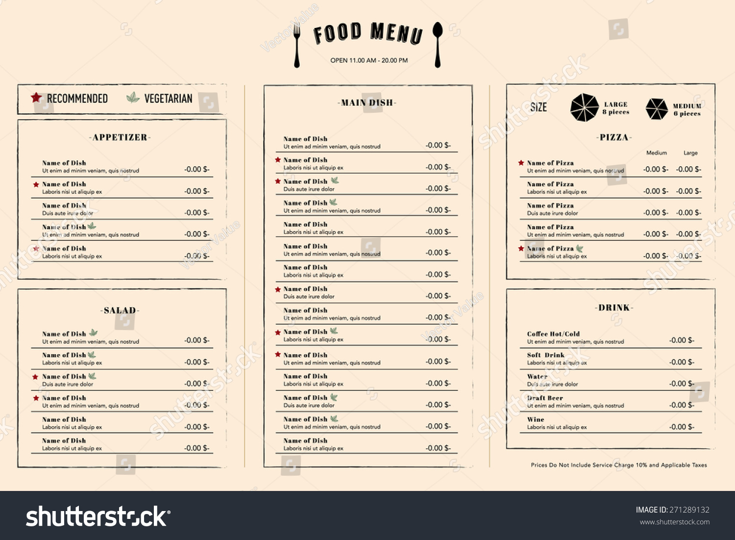 Restaurant menu design template layout logo stock vector