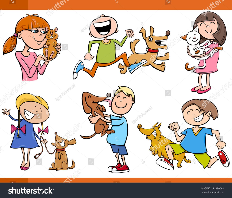 cartoon vector illustration kids pets characters stock vector
