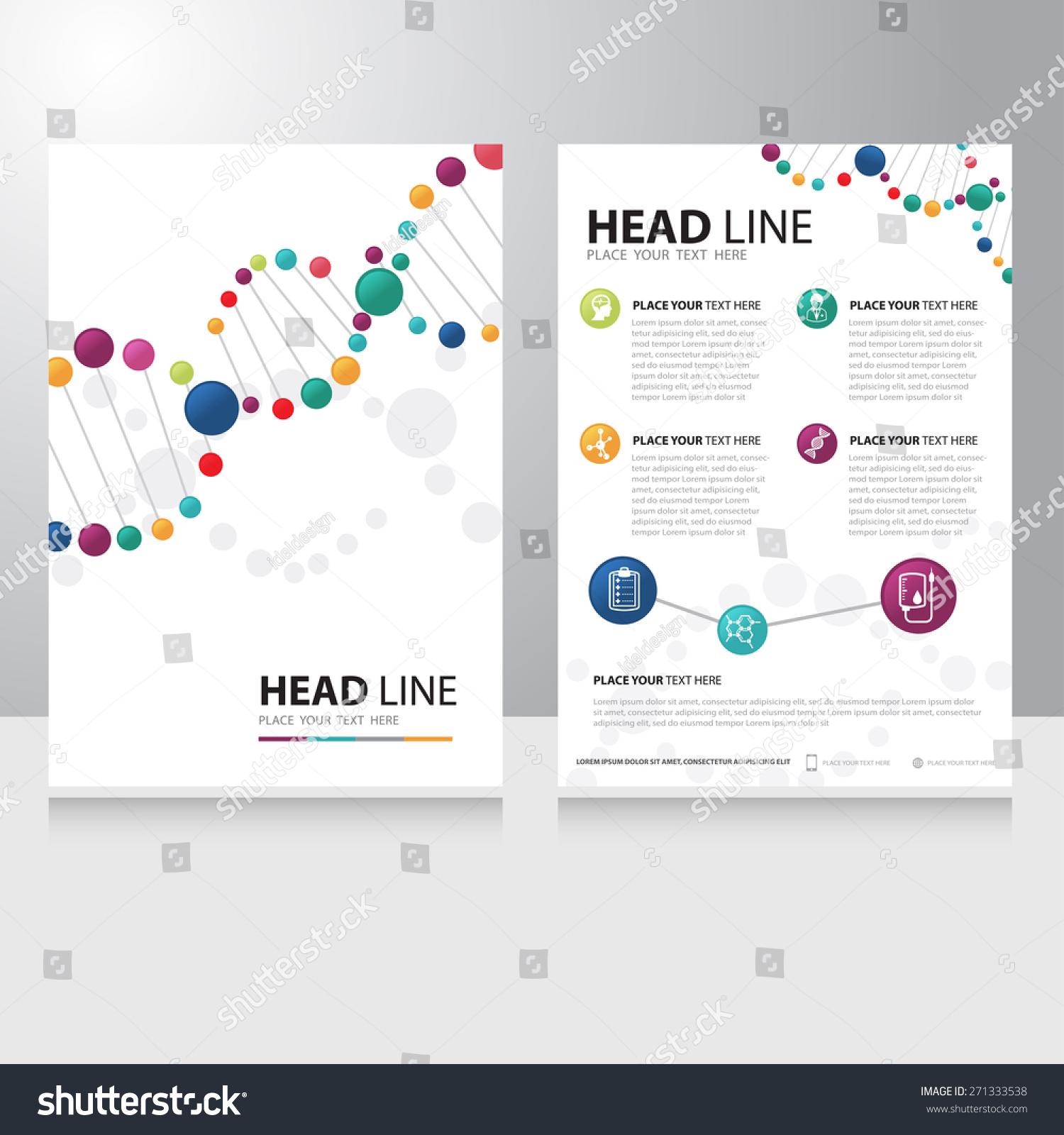 technology brochure template - vector healthcare medical science technology brochure