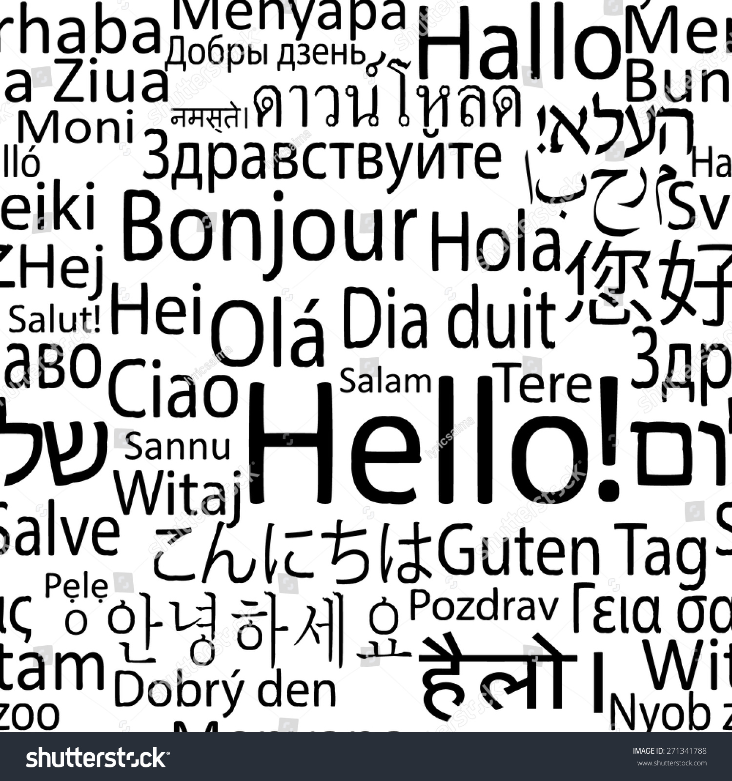 Hello Different Languages World Seamlees Background Stock Vector ...