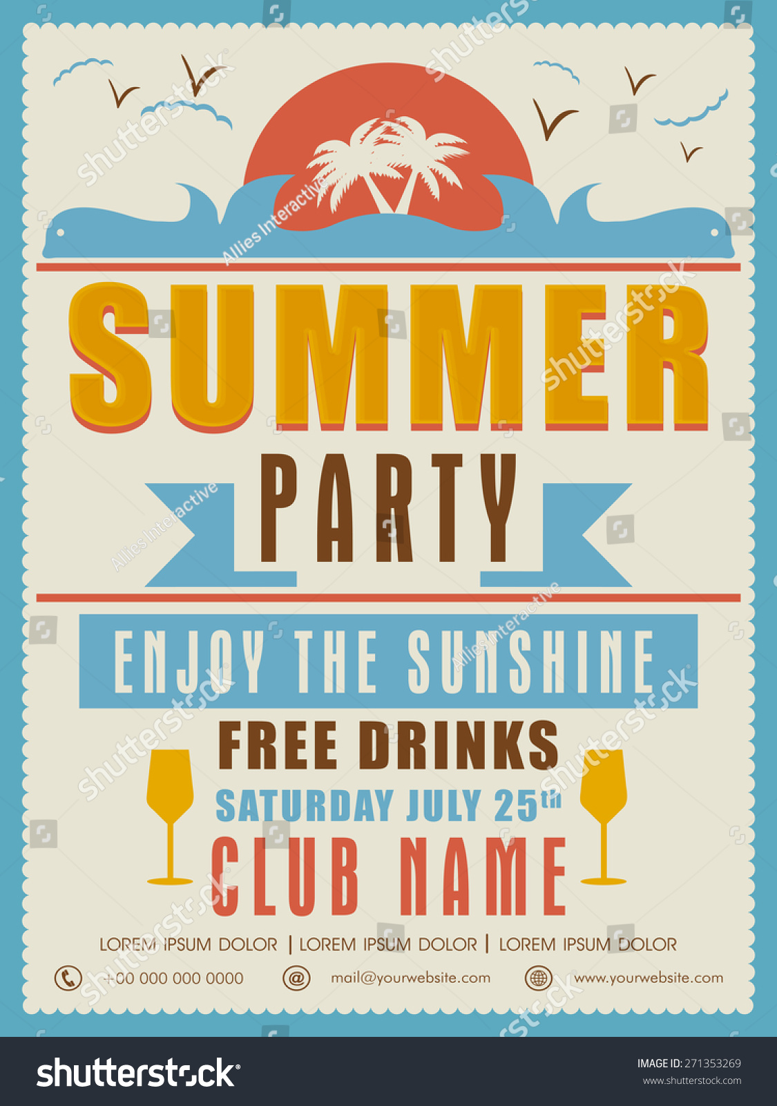 Vintage Summer Party Invitation Card Design Stock Vector 271353269 ...