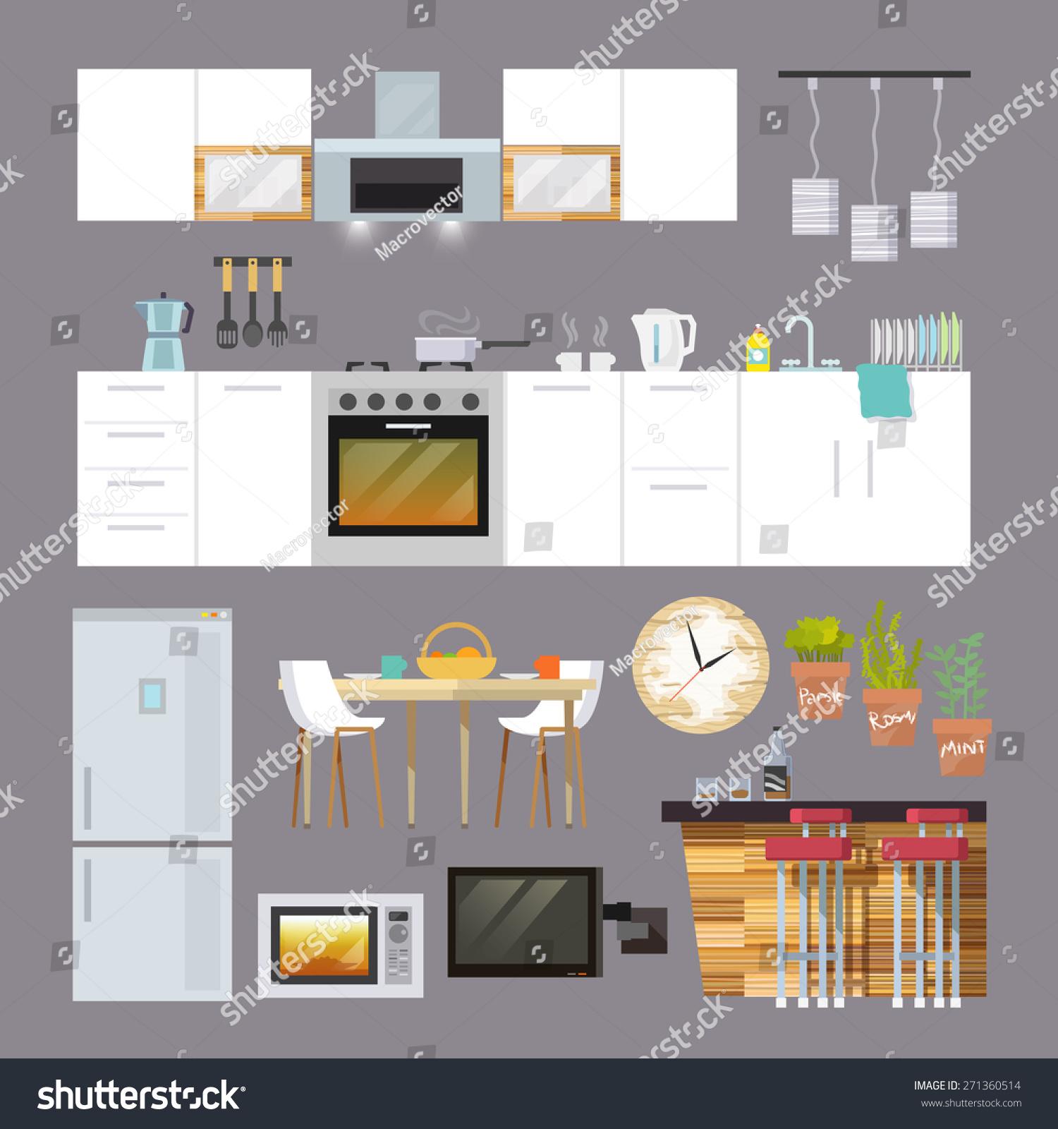 Kitchen Interior Furniture Decorative Icons Flat Stock Vector