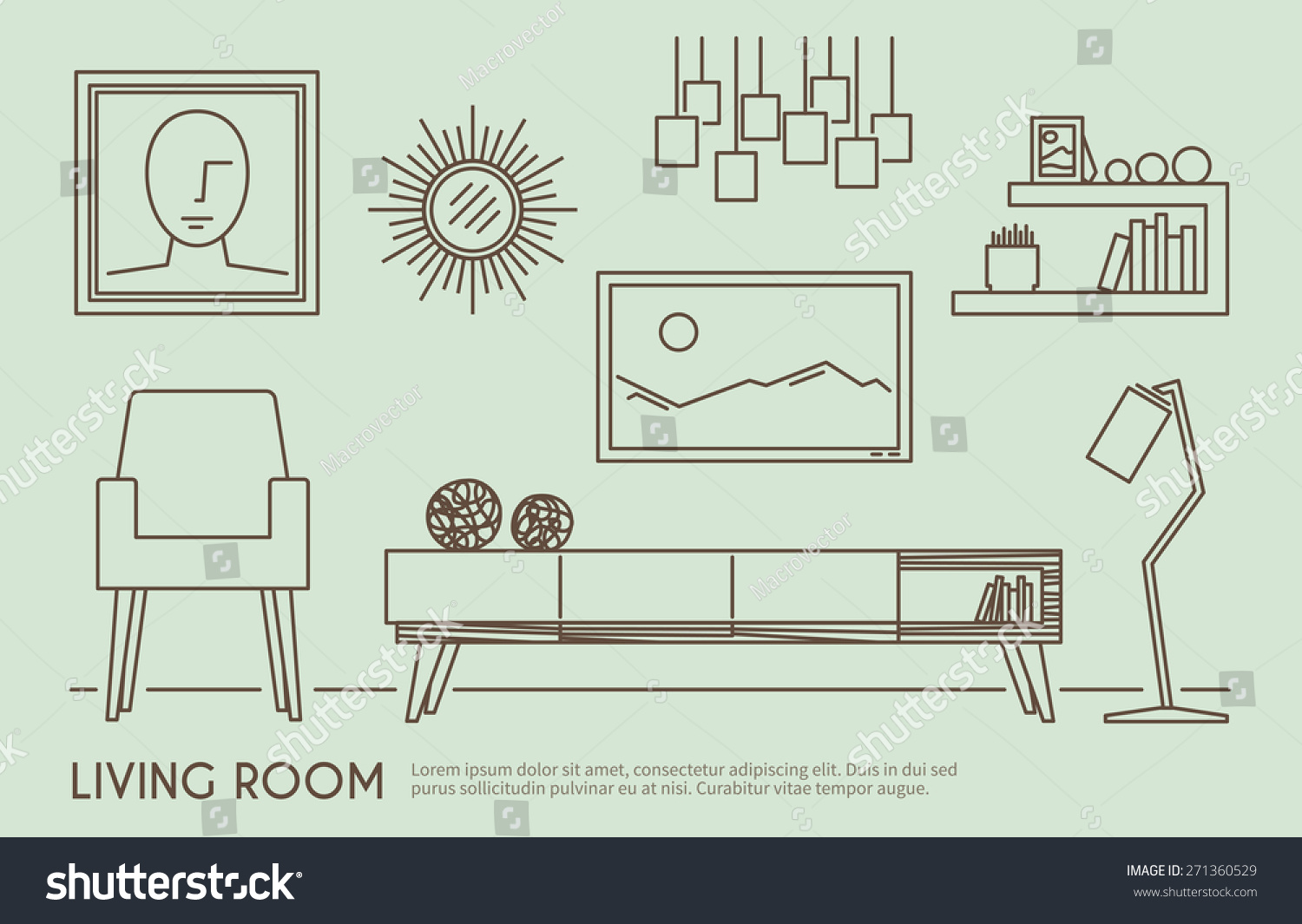 Living room interior design with outline furniture set for Room design vector