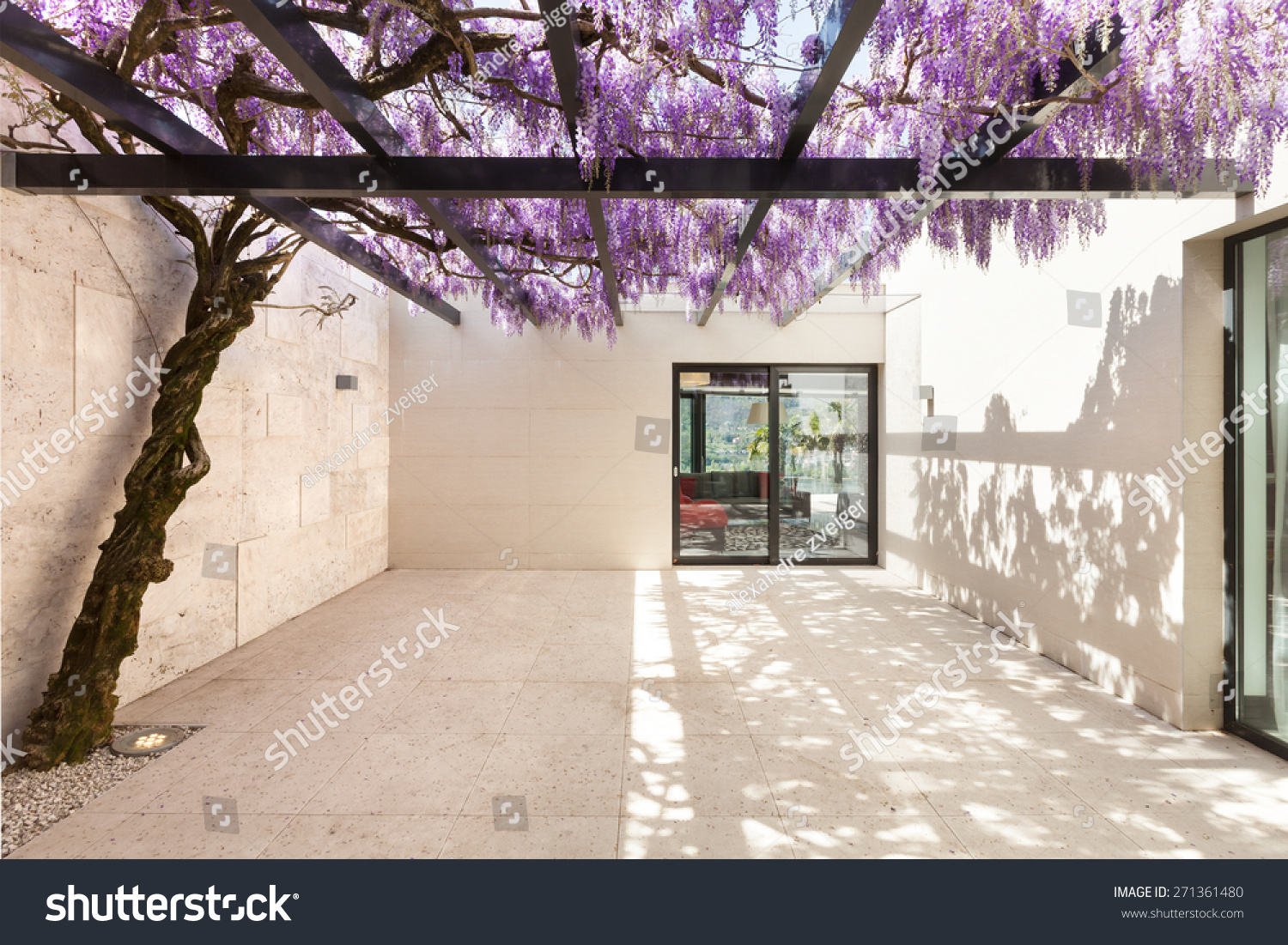 Architecture Modern House Beautiful Veranda Wisteria Stock Photo