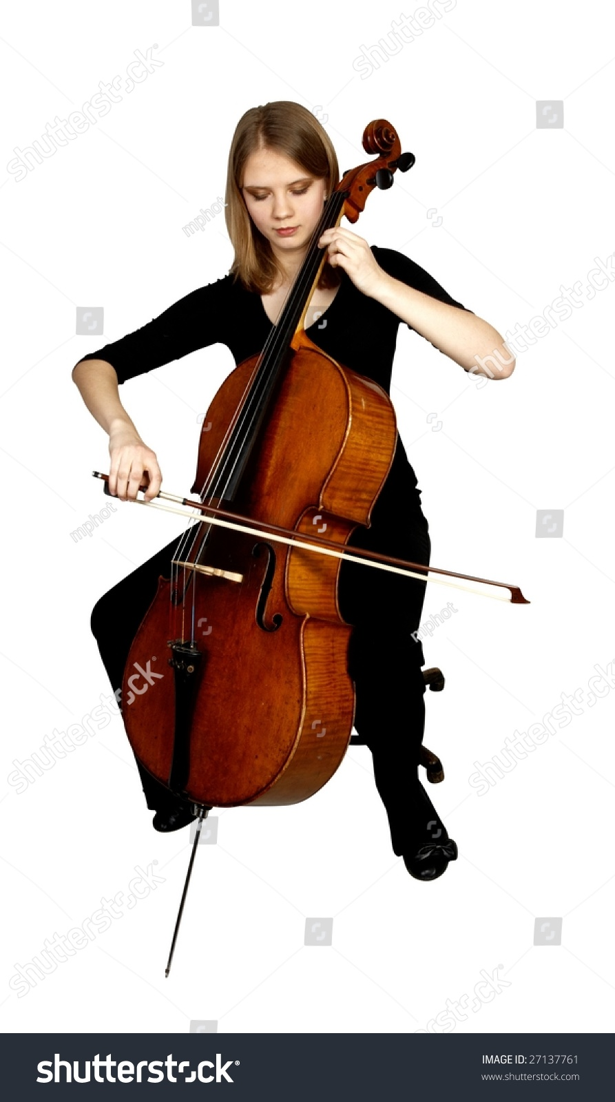 Young Girl Playing Cello On White Stock Photo 27137761 ...