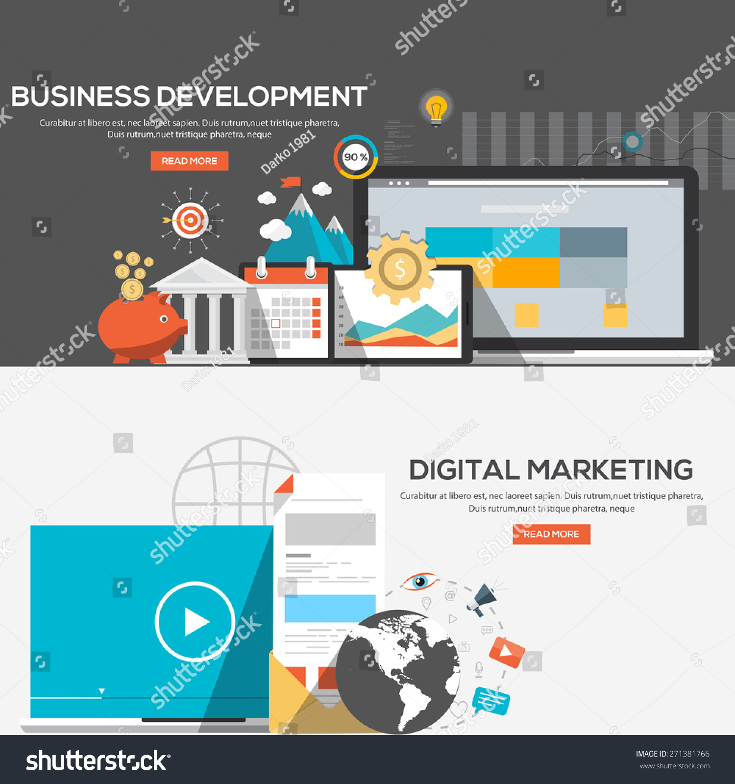 Flat Design Illustration Concepts For Business Development