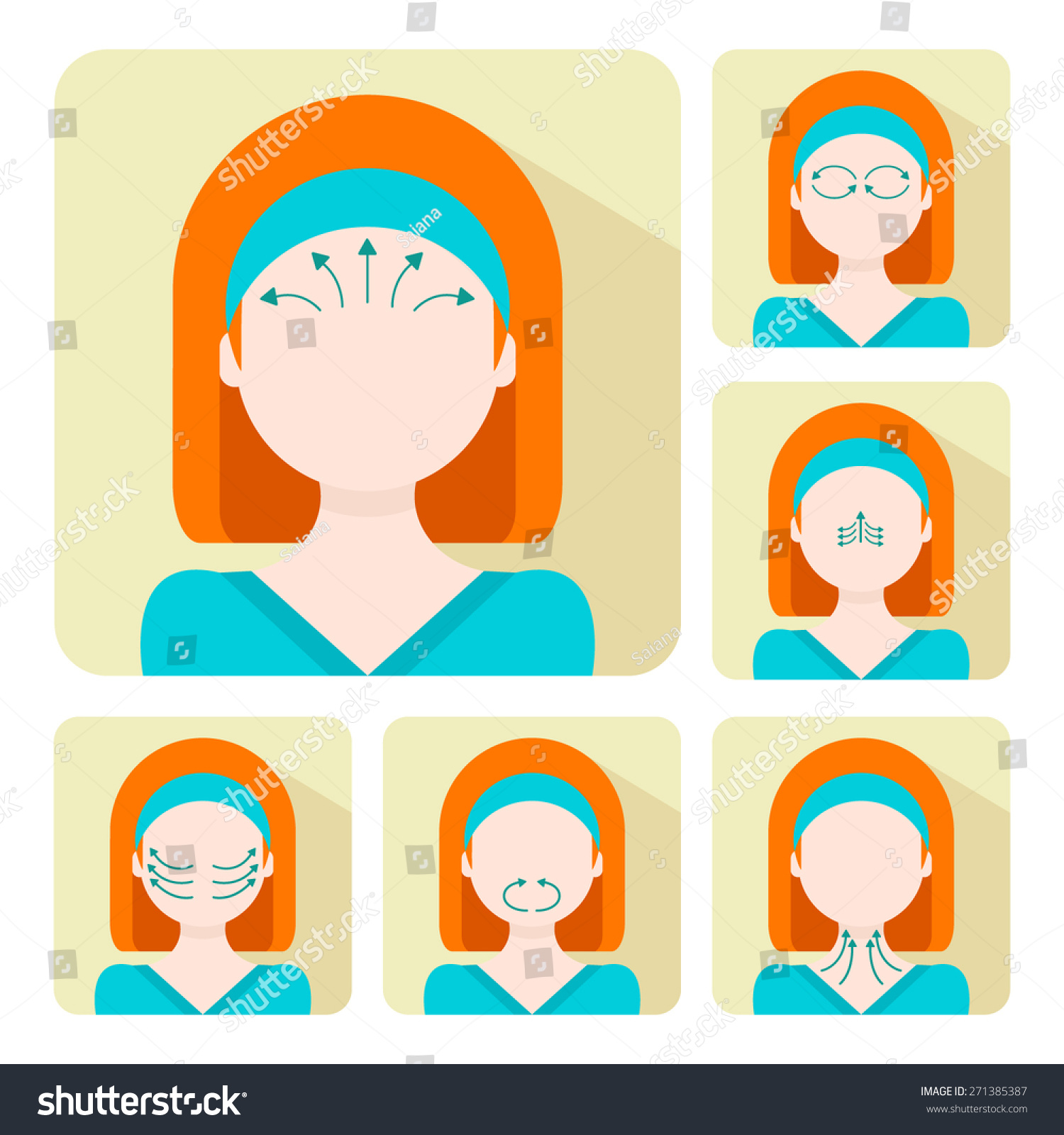 Vector Flat Illustration On Stickers Set Stock Vector Royalty Free