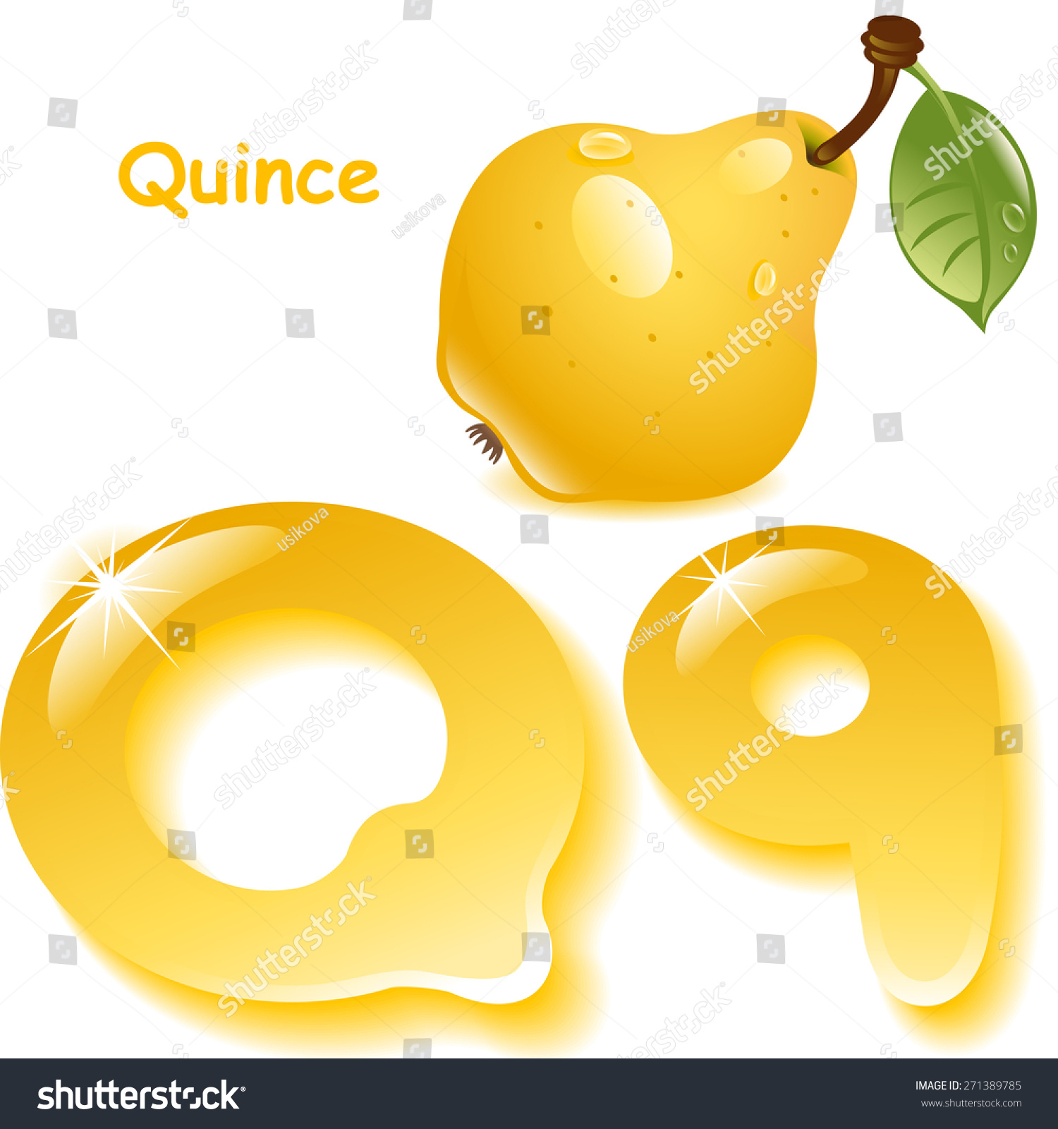 English capital and uppercase letter Q, stylized color of quince juice.  yellow