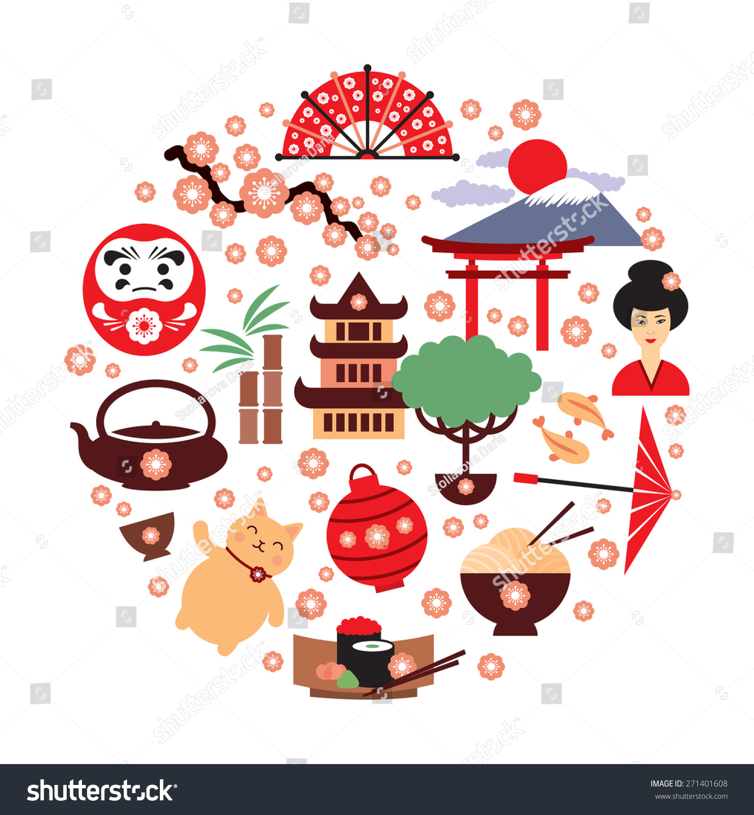 Japan Vector Symbols Japan Traditional Food Stock Vector