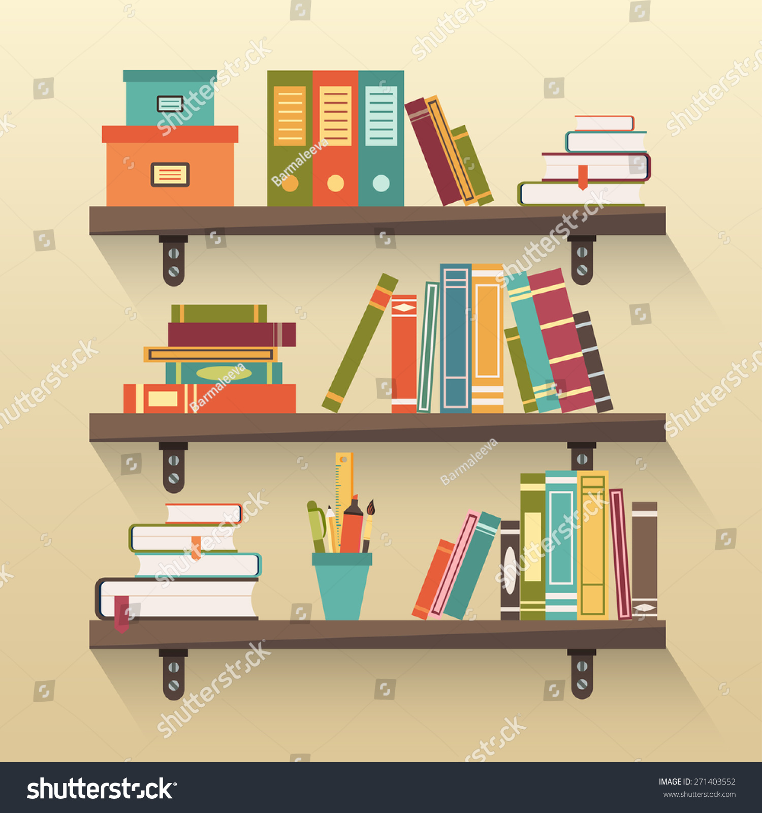 Shelves Colorful Books Flat Design Style Stock Vector