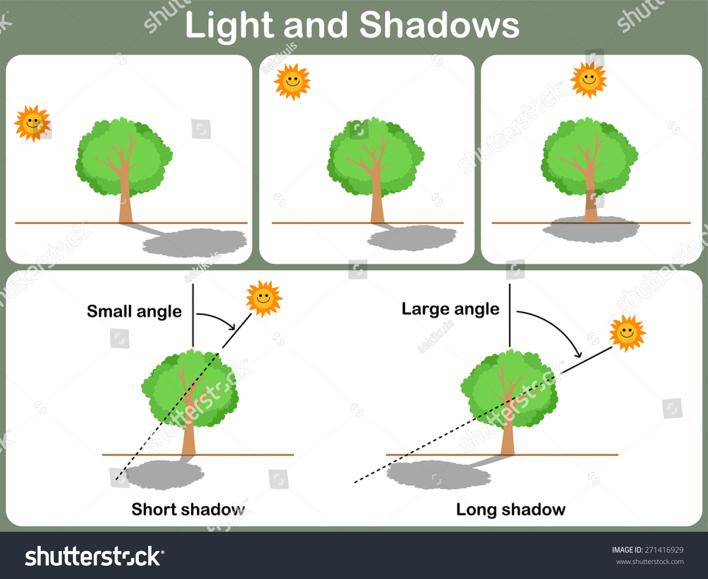 Leaning Light Shadow Kids Worksheet Stock Vector Royalty Free