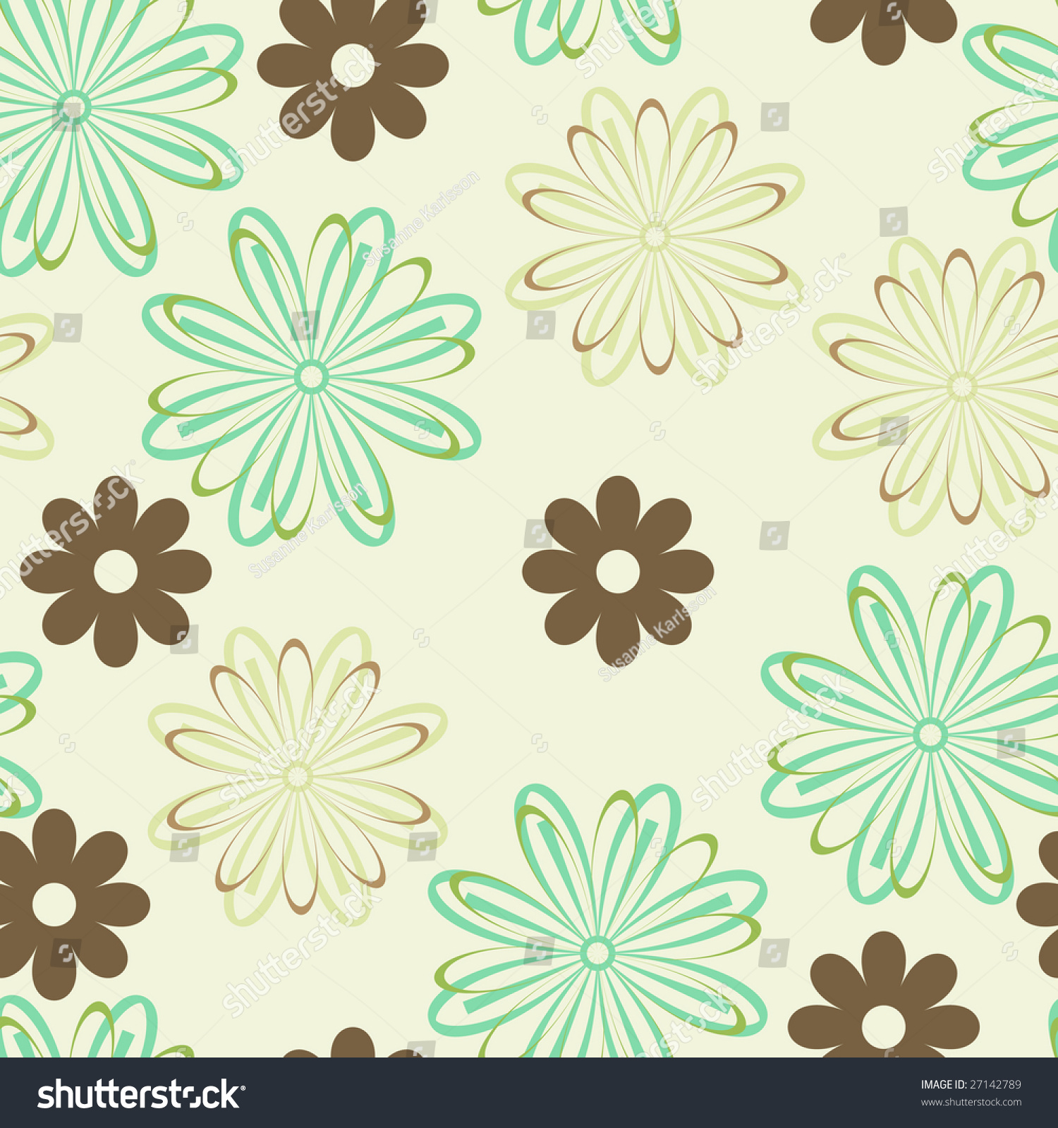 Green Flower Line Drawing : Green and brown line art flowers seamless background