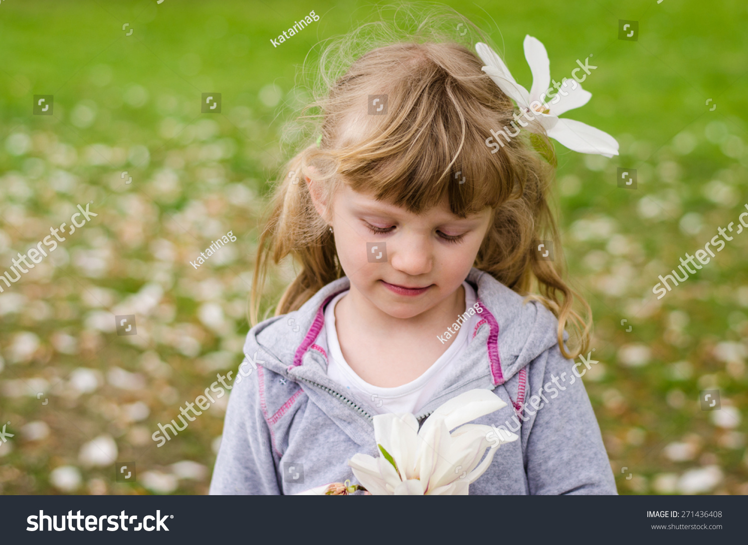 Beautiful Blond Girl With White Flower In Hair Ez Canvas