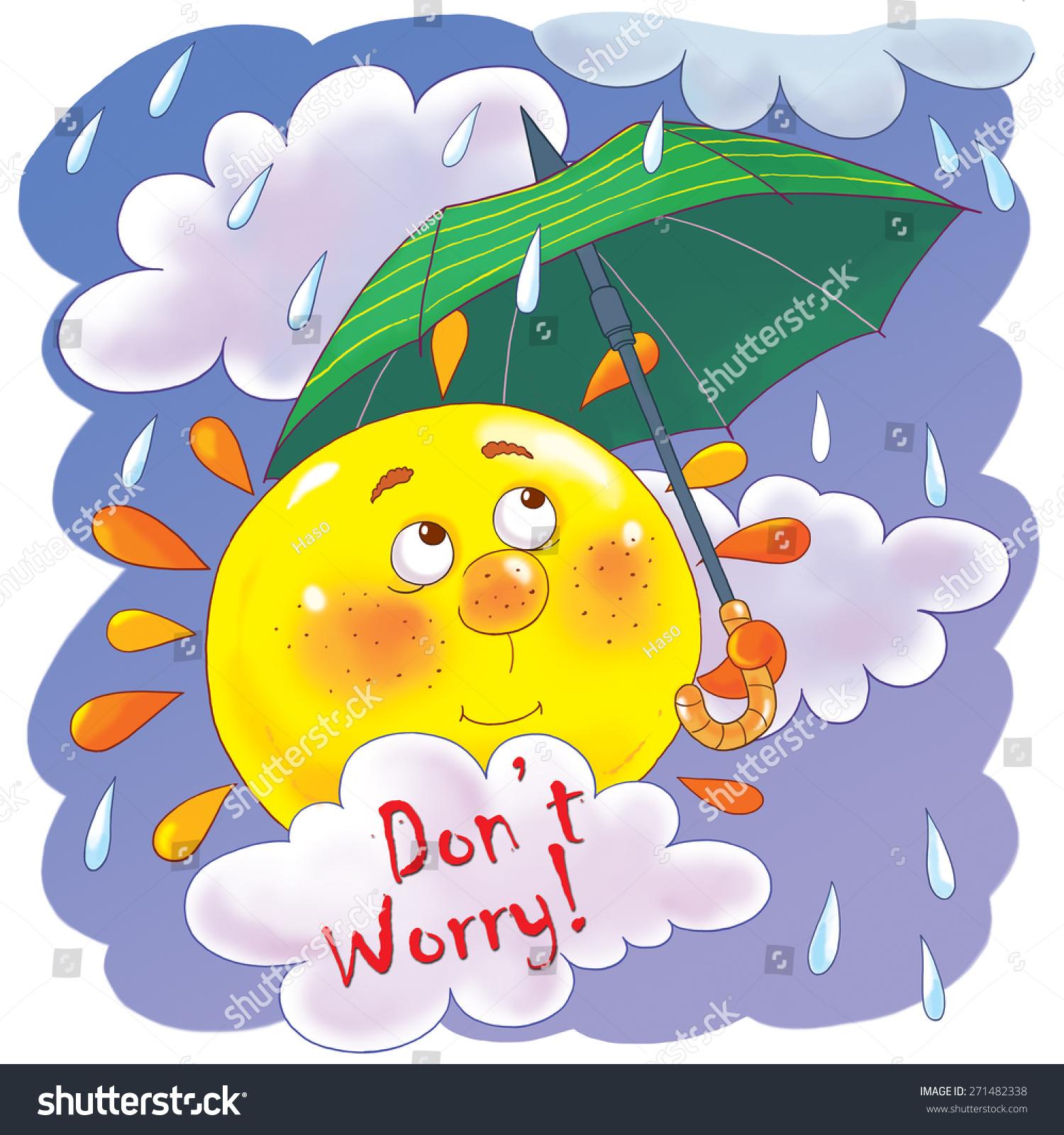 Cute Rainy Day: Cute Sun With An Umbrella, Clouds And Rain. Rainy Day