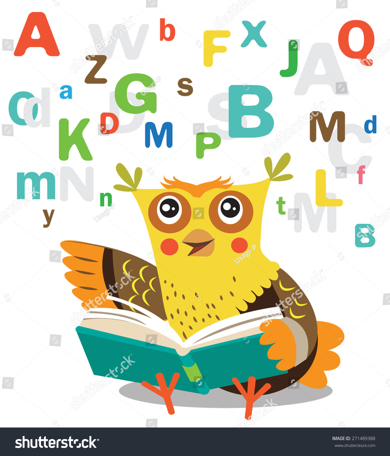 funny owl learn read book on stock vector 271489388 shutterstock