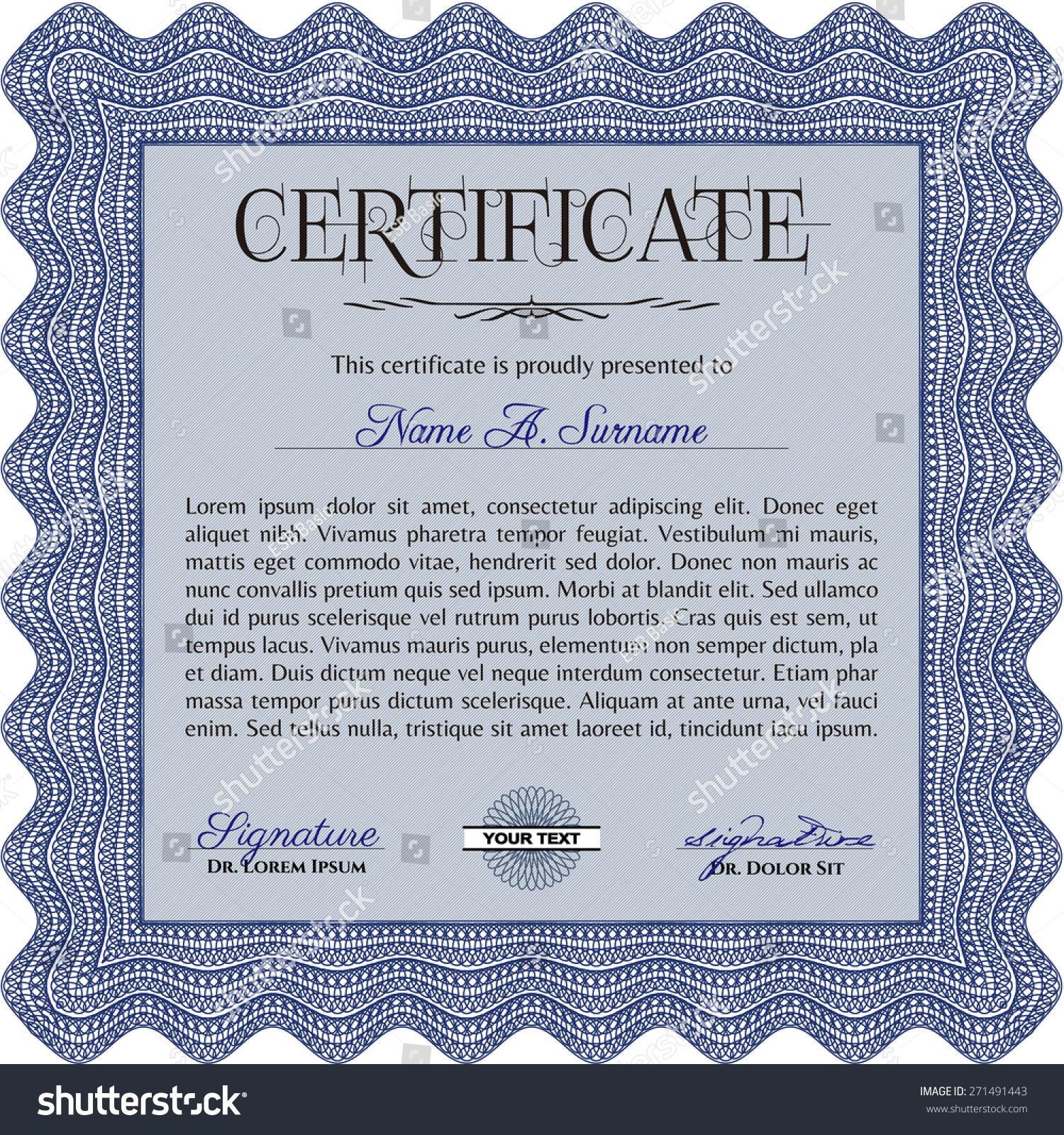 stock vector blue certificate template 271491443 Top