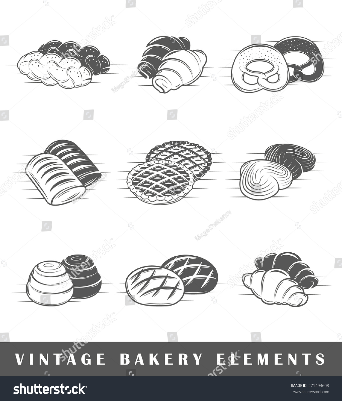Set elements bakery elements bakery isolated stock vector set of elements of the bakery elements of bakery isolated on white symbols for biocorpaavc Gallery