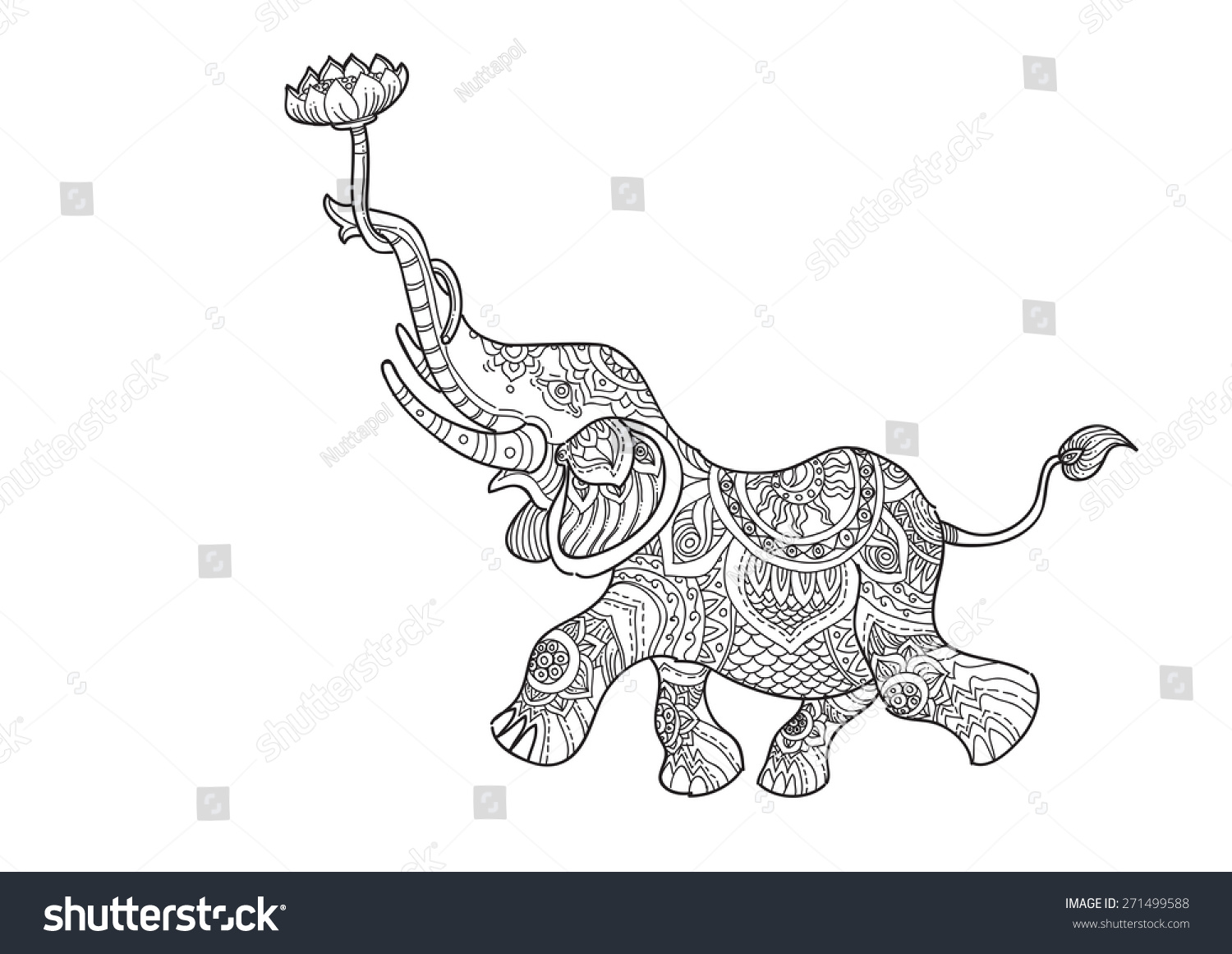 Hand Drawn Picture Elephant Holding Lotus Stock Vector Royalty Free