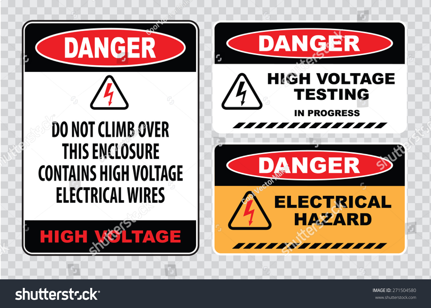 Set danger high voltage signs danger stock vector 271504580 set of danger high voltage signs danger do not climb over this enclosure contains high buycottarizona Images