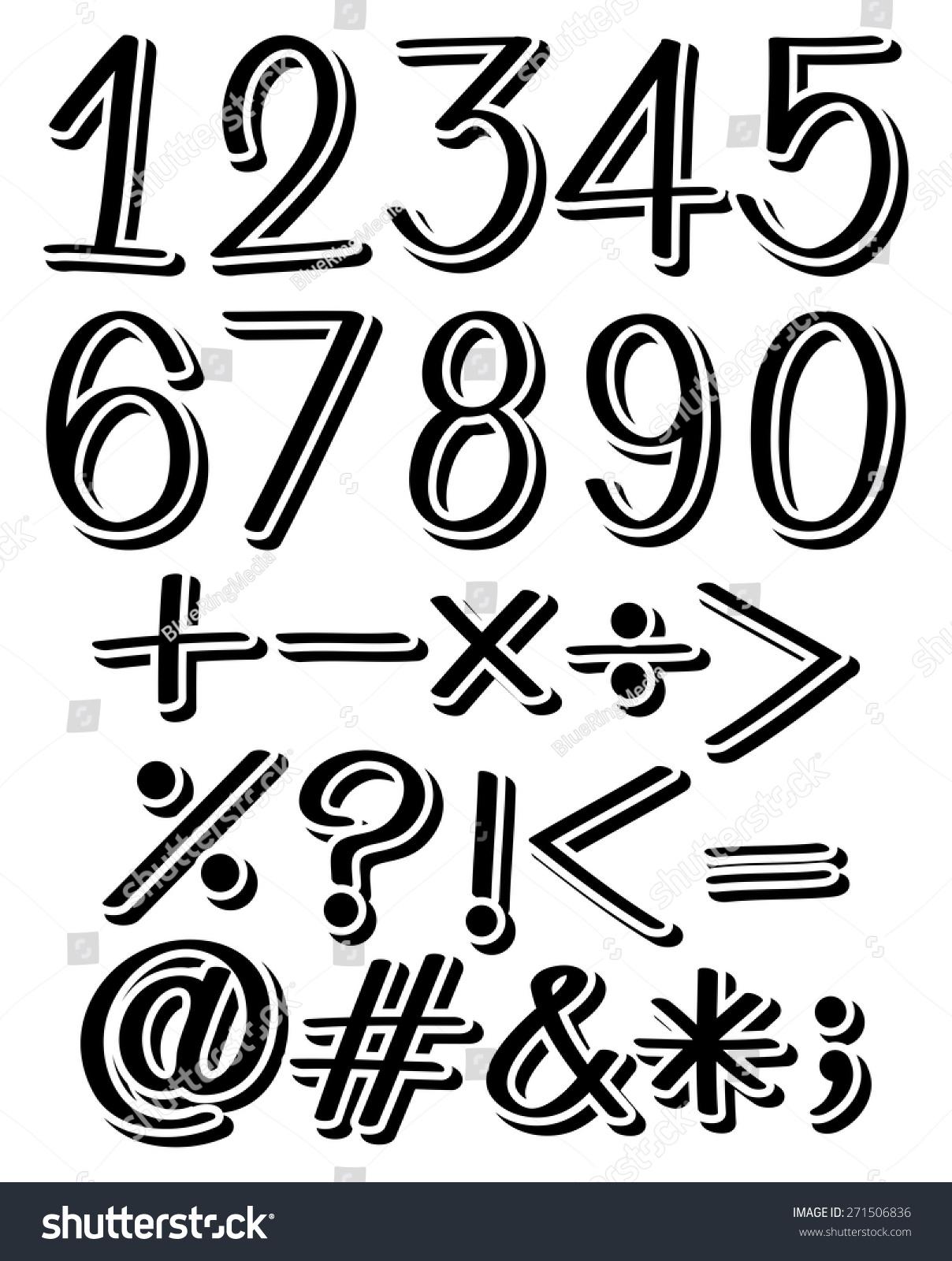 Set numbers maths symbols black color stock vector 271506836 set of numbers and maths symbols in black color buycottarizona