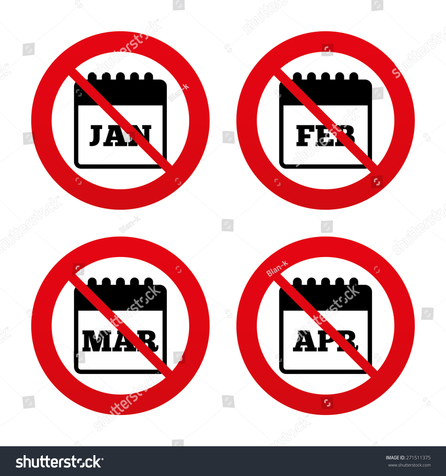 Month signs and symbols image collections symbol and sign ideas no ban stop signs calendar icons stock vector 271511375 shutterstock no ban or stop signs calendar buycottarizona